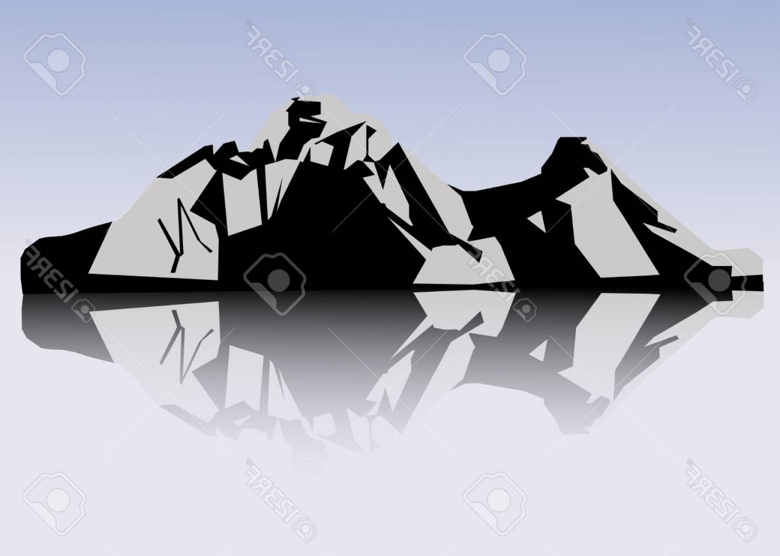 White Mountain Silhouette Vector Free: Photostock Vector Set Of Black And White Mountain Silhouettes Vector Illustration On The Transparent Background
