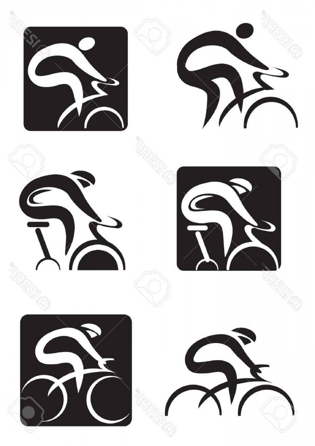 Indoor Cycling Bike Vector: Photostock Vector Set Of Black Icons Of Spinning And Cycling Vector Illustration