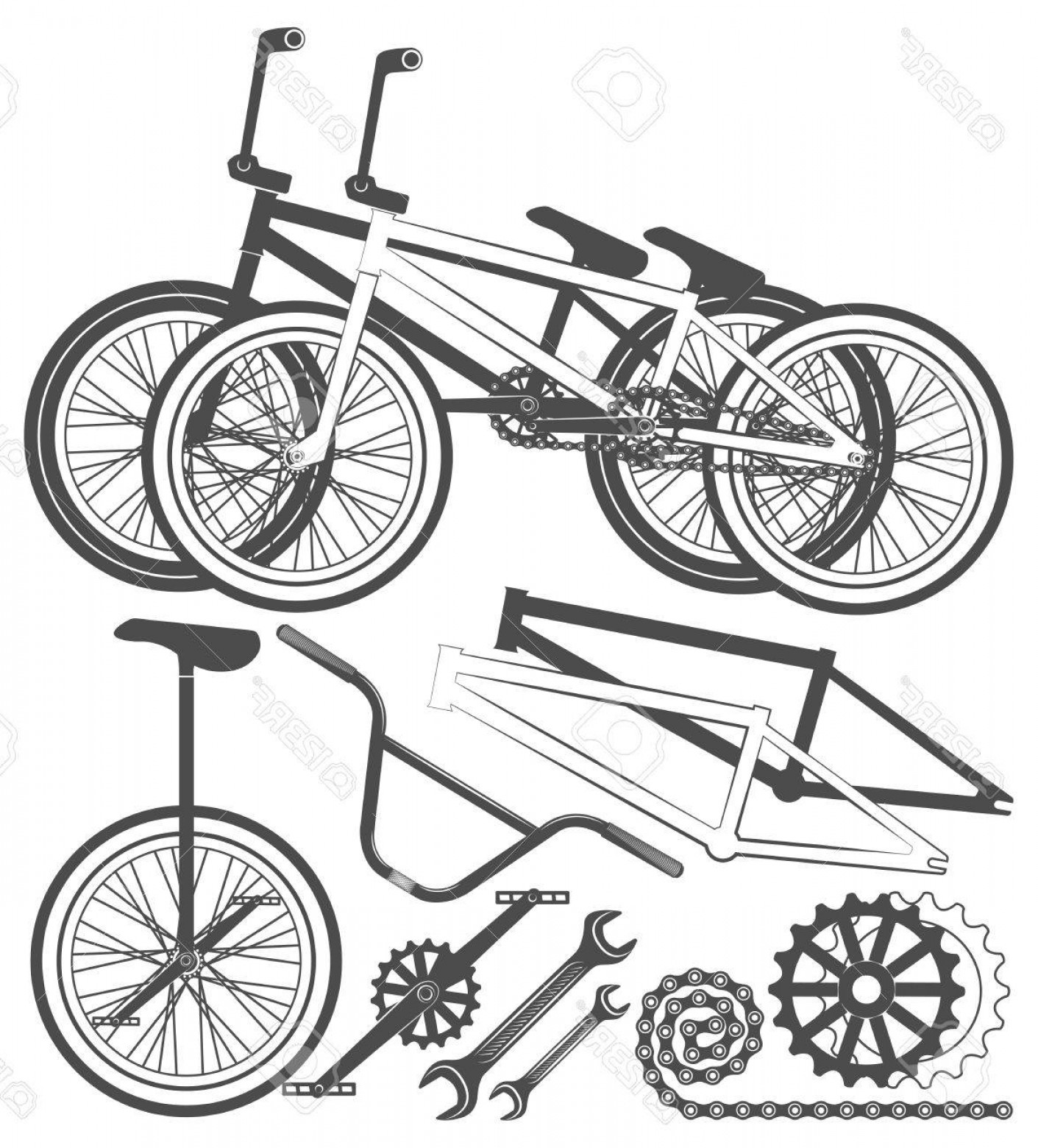 BMX Bike Tire Vector: Photostock Vector Set Of Bmx Bike Elements Bicycle Parts Wheel Chain Unicycle