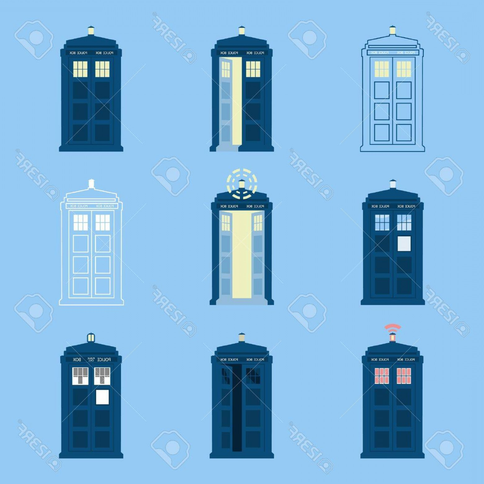 Vector Police Box: Photostock Vector Set Of British Police Boxes Icons Of Telephone Boxes Telephone In London And England For Police Call