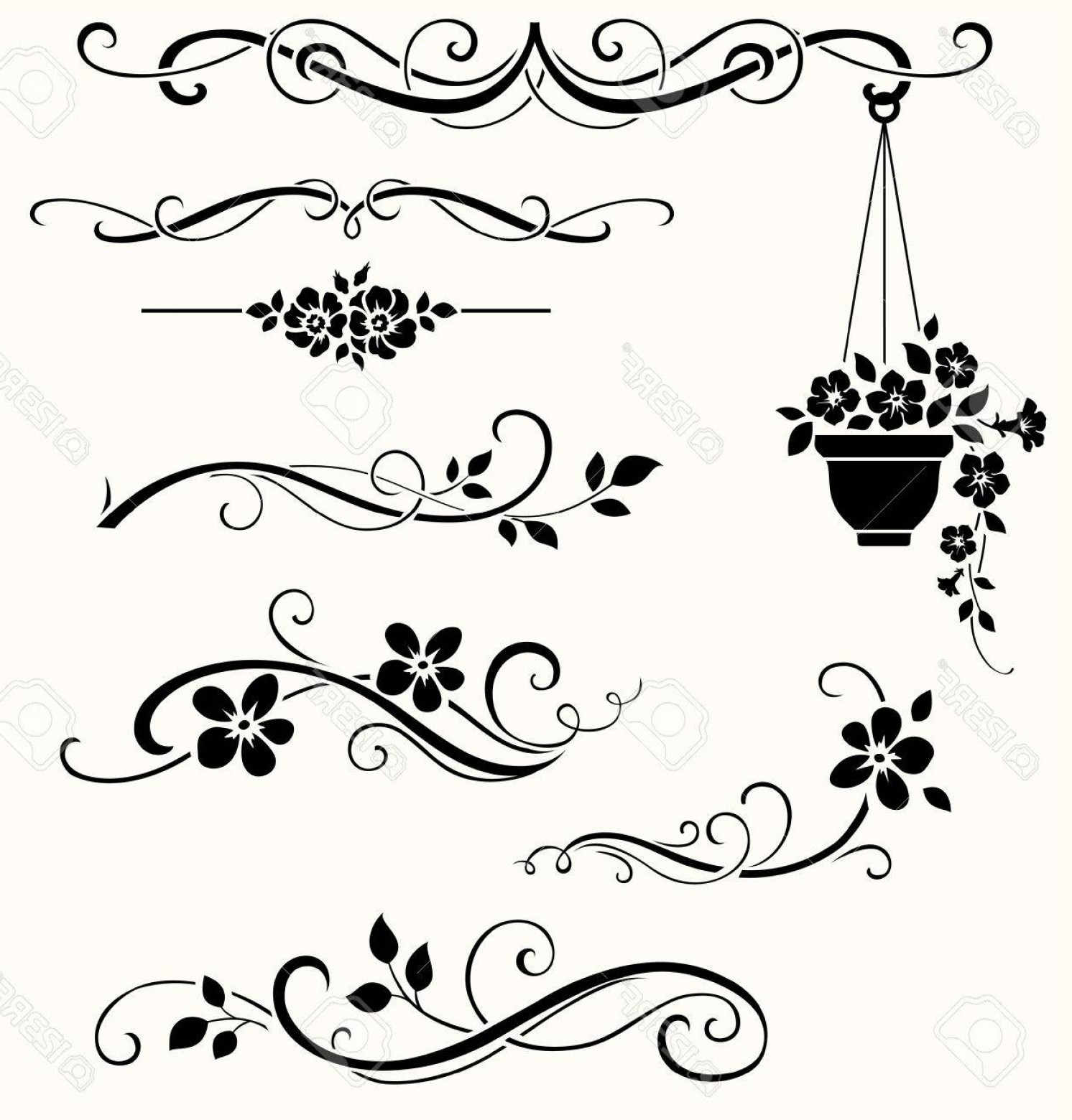 Flower Elements Vector: Photostock Vector Set Of Calligraphic Floral Elements Vector Decorative Twigs And Flowers