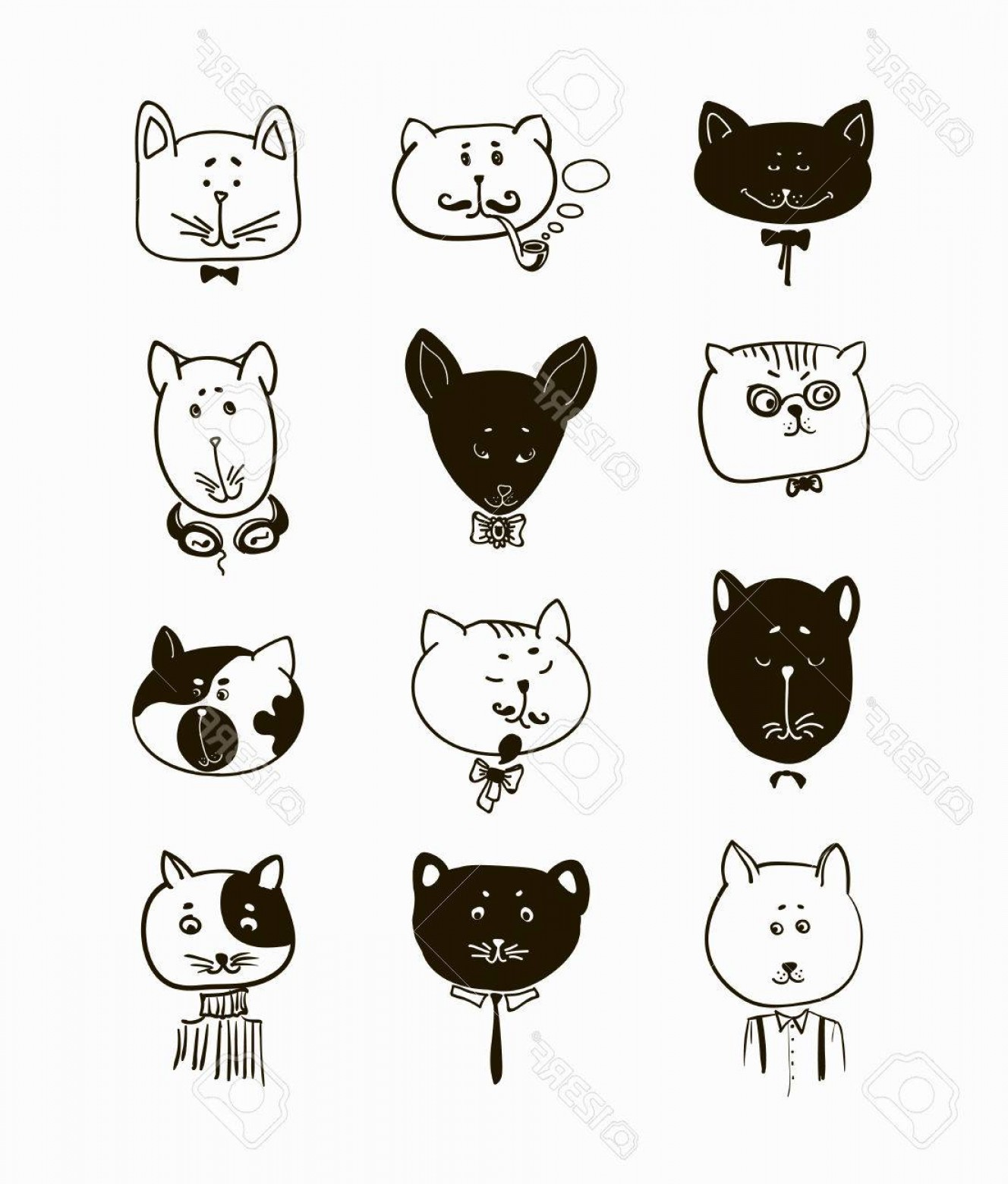 Malee Cat Head Silhouette Vector: Photostock Vector Set Of Cats Heads Face Kitten Whiskers And Ears Muzzle And Wool Vector Illustration