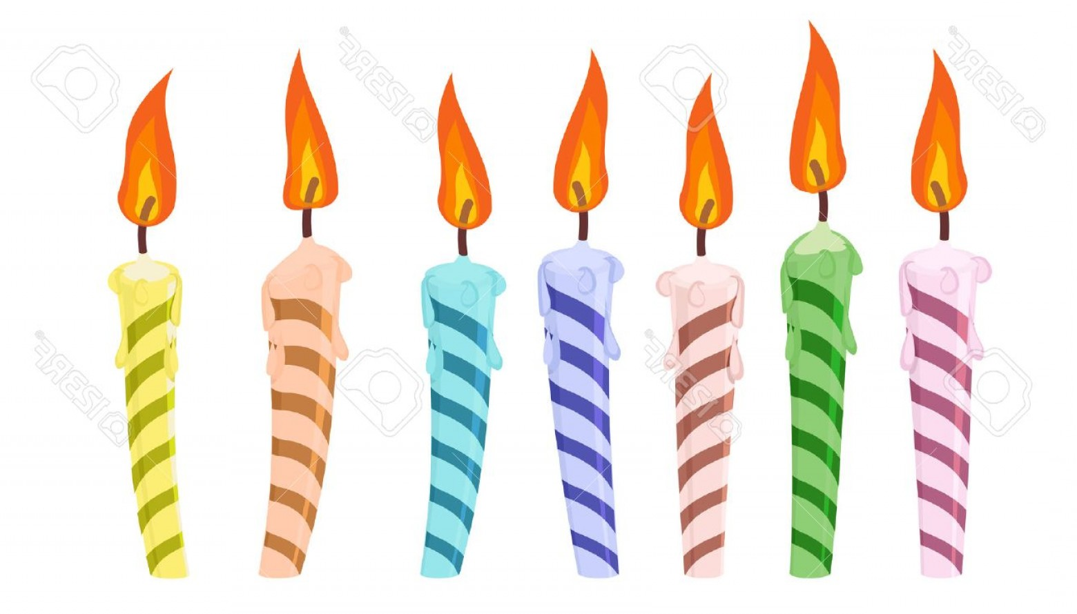 Birthday Candle Vector Art: Photostock Vector Set Of Colorful Birthday Candles Vector Illustration