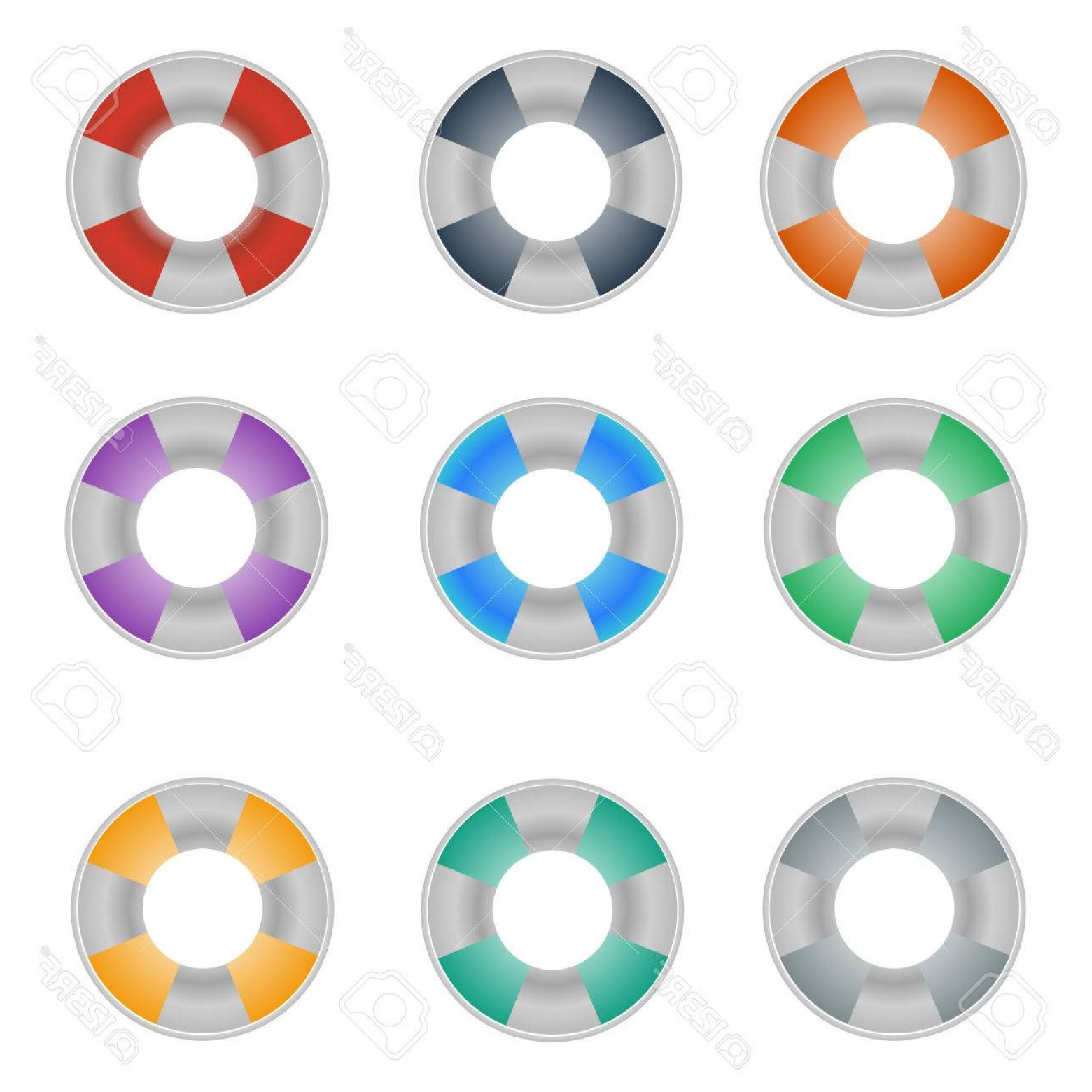 Old Lifesaver Stripe Vectors: Photostock Vector Set Of Colorful Lifebuoy Icons On The White Background Vector Design