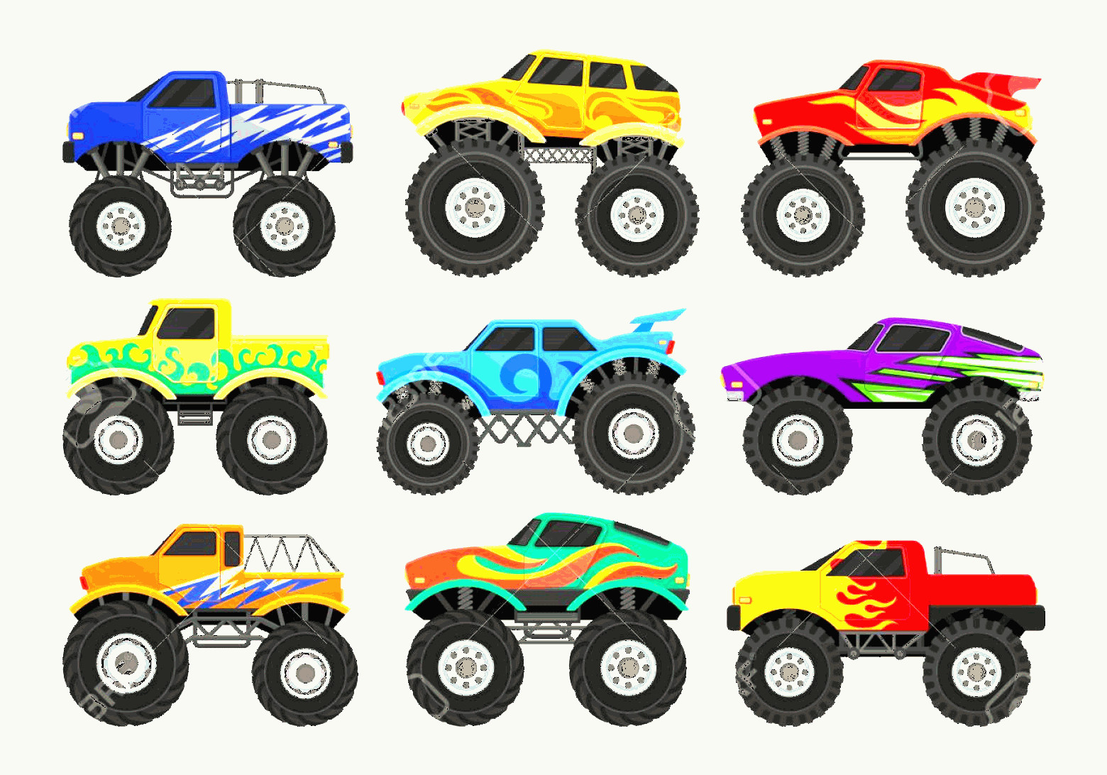 Monster Truck Tires Vector: Photostock Vector Set Of Colorful Monster Trucks Heavy Cars With Large Tires And Black Tinted Windows Graphic Elements