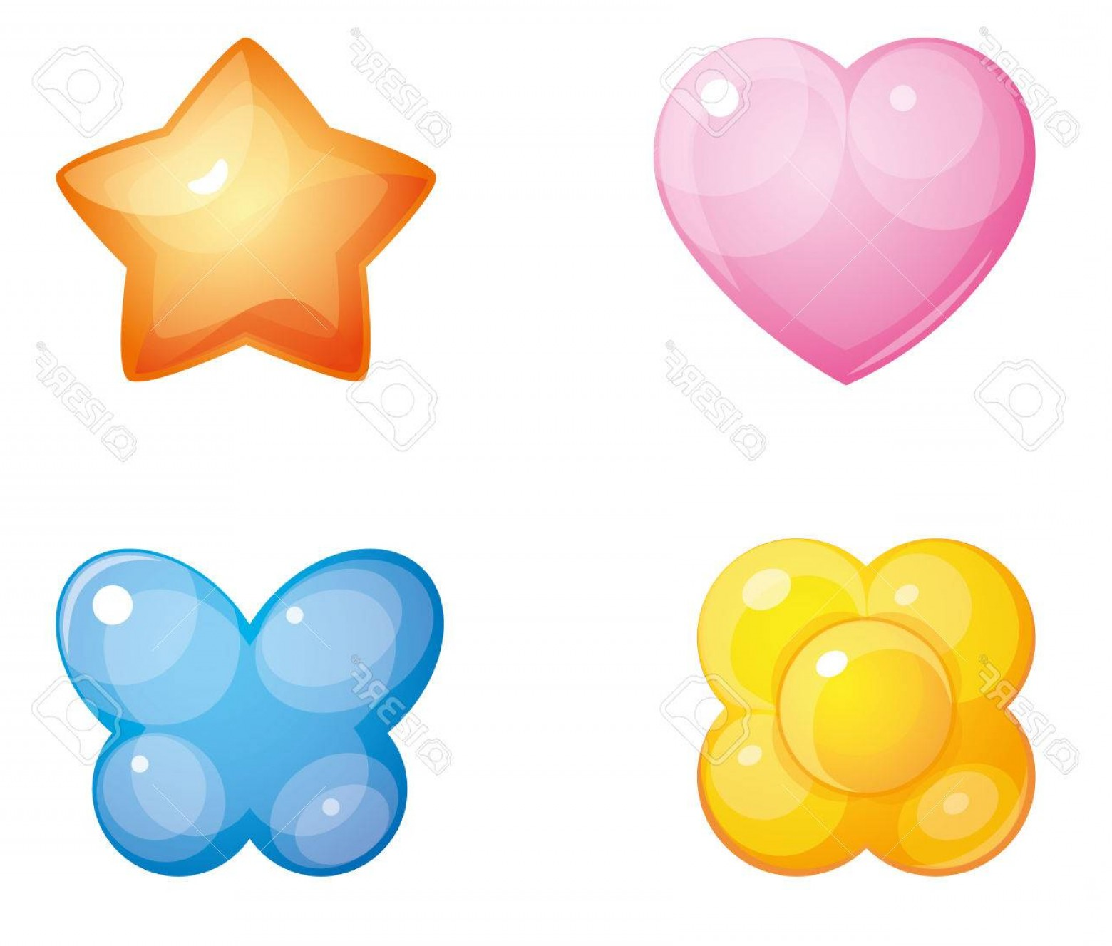 Vectors Heart And Star: Photostock Vector Set Of Convex Glass Buttons Pink Heart Red Star Blue Butterfly Yellow Flower Isolated On White Backg