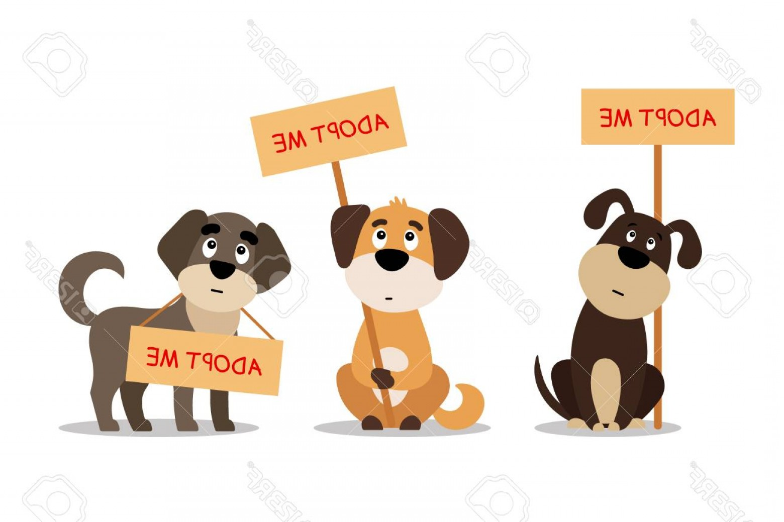 Adoption Art Animal Vector: Photostock Vector Set Of Cute Dogs With Adopt Me Sign