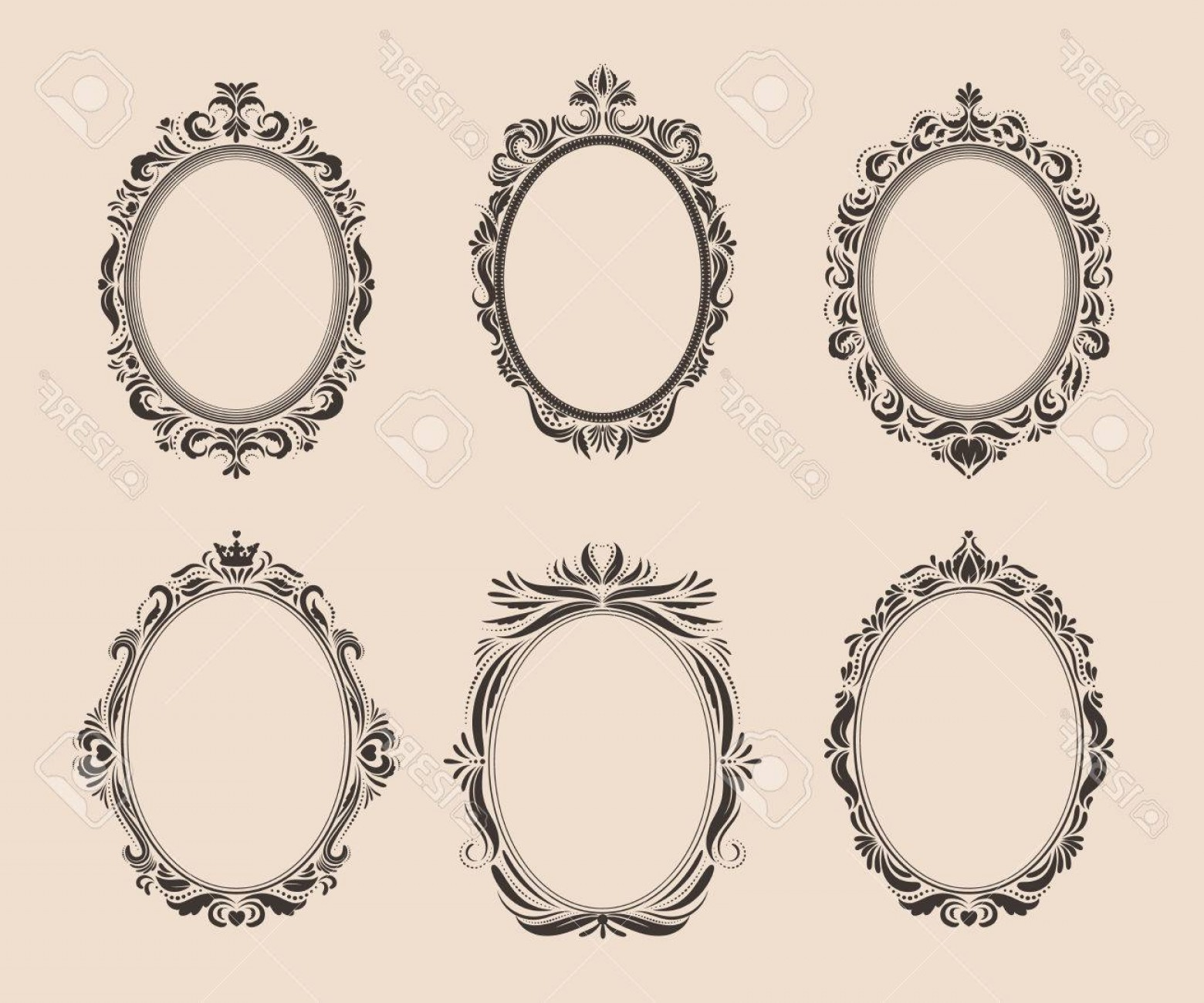 Vector Ornate Shaped Frame: Photostock Vector Set Of Decorative Oval Vintage Frames And Borders Victorian And Baroque Style Design Elegant Royal S
