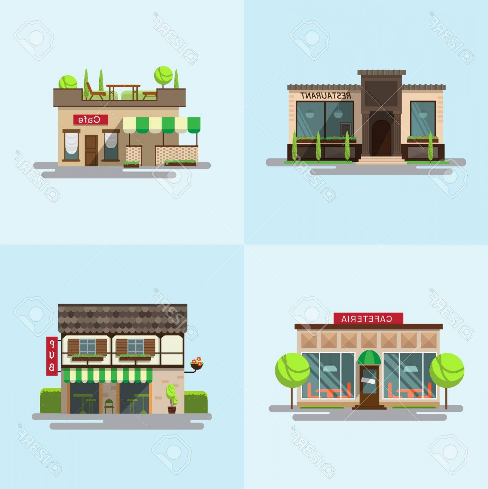 Public Floor Plan Vector: Photostock Vector Set Of Detailed Flat Design City Public Buildings Restaurants And Cafe Cafeteria Coffee House And Bu