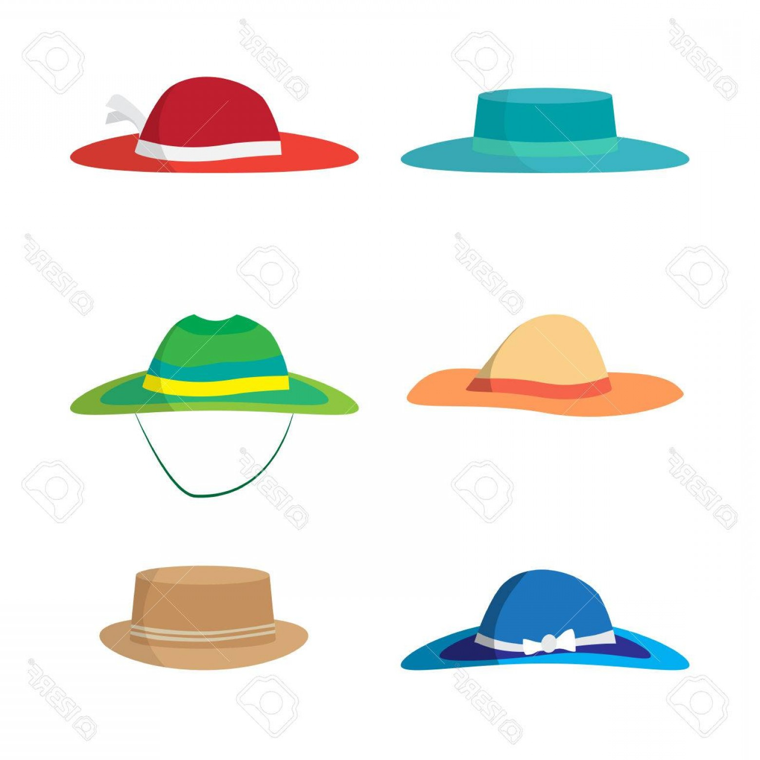 Vector Beach Hats: Photostock Vector Set Of Different Colored Beach Hats Headgear To Protect Against The Sun On The Beach Flat Vector Ill