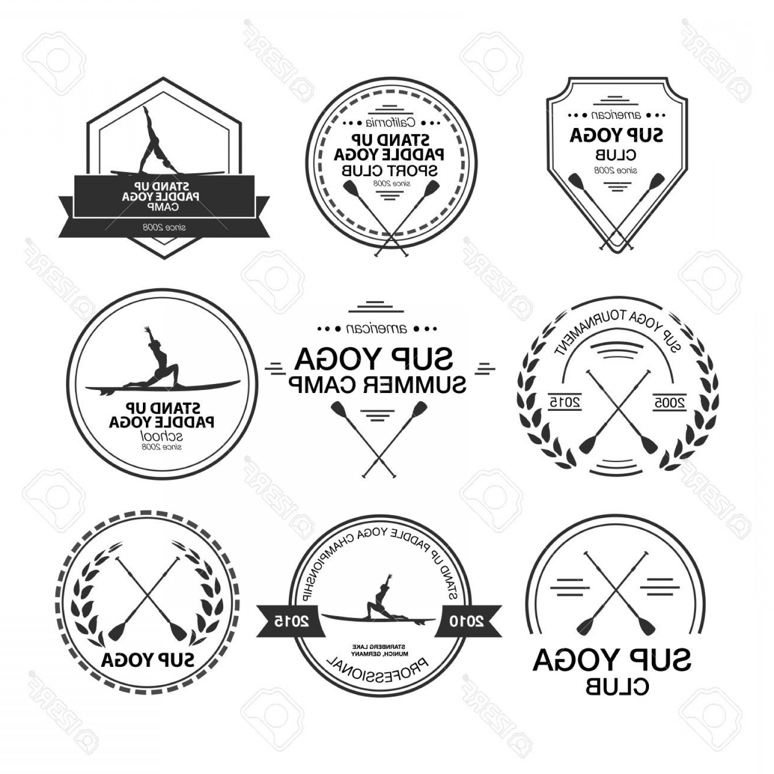 Paddle Vector Art: Photostock Vector Set Of Different Templates For Stand Up Paddle Yoga Athletic Labels And Badges