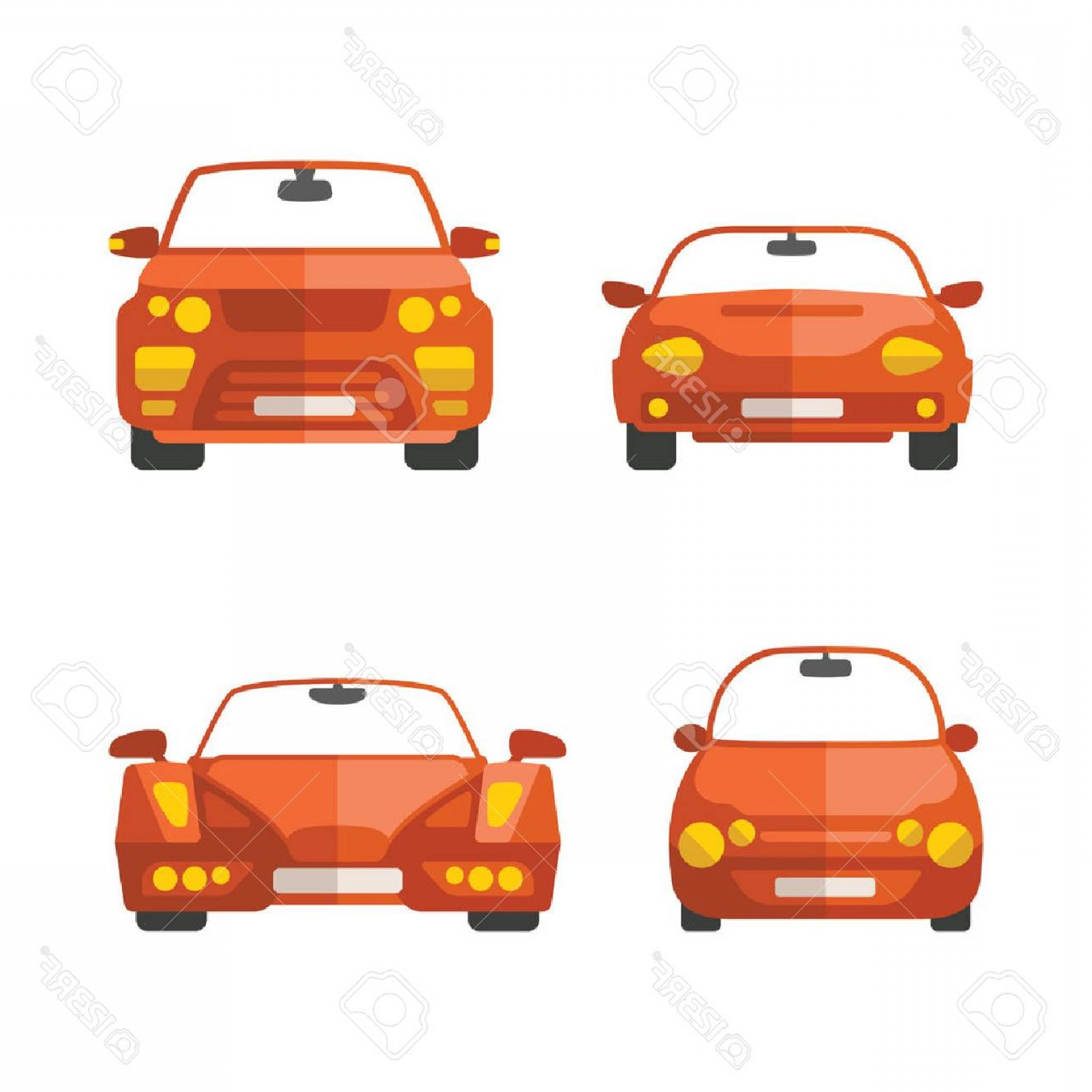 SUV Car Elevation Vector: Photostock Vector Set Of Different Vector Passenger Cars In Flat Style