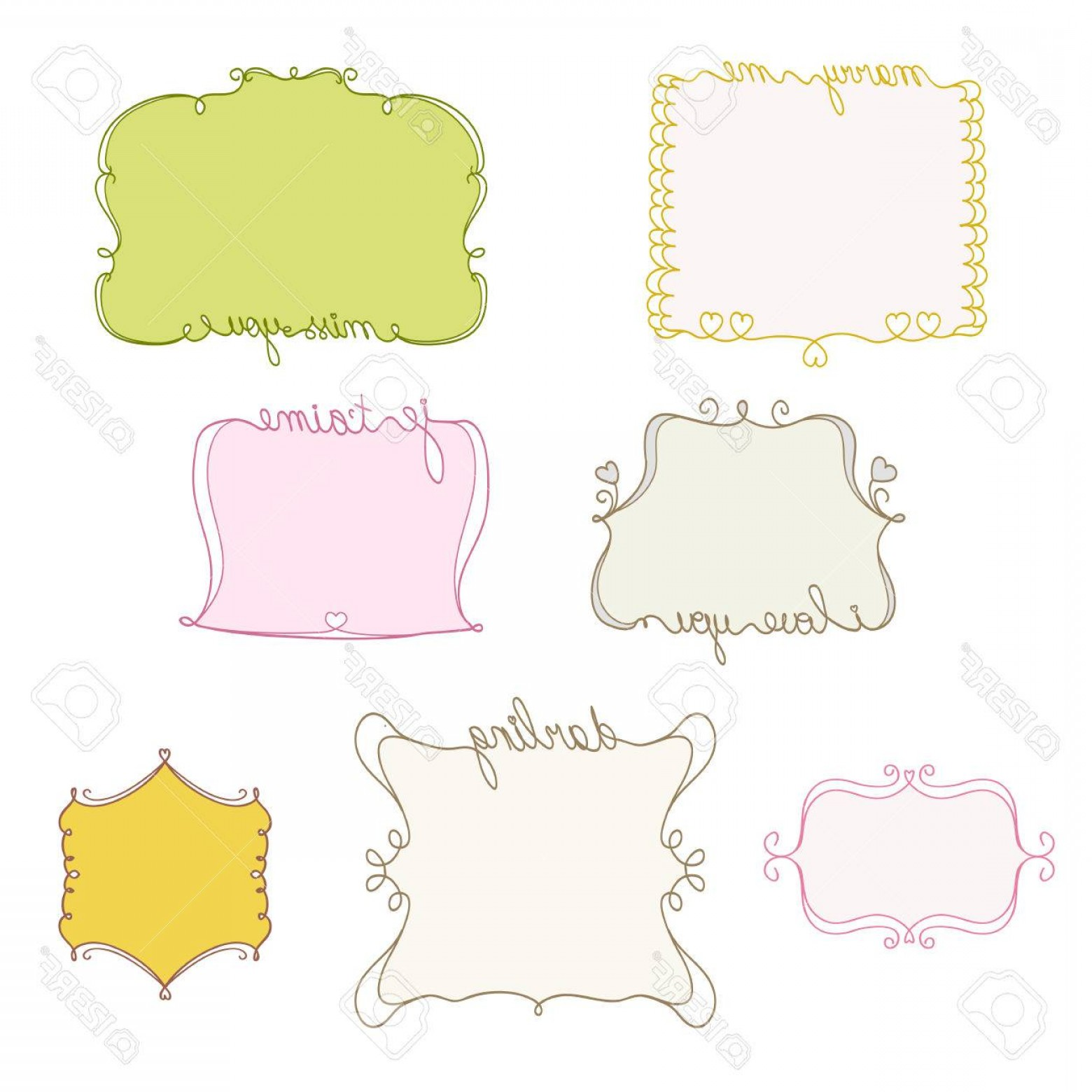 Cute Design Elements Vector Set: Photostock Vector Set Of Doodle Frames Cute Hand Drawn Design Elements Vector