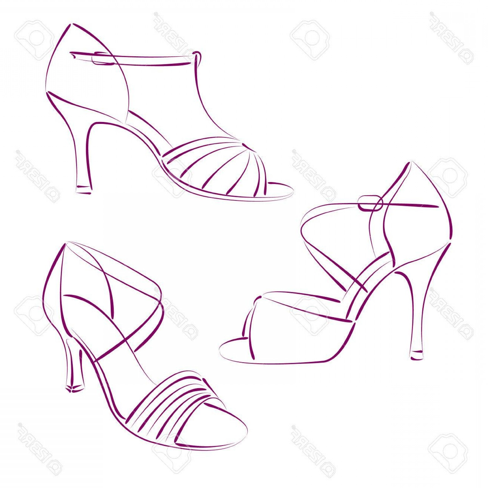 Dance Shoes Vector Art: Photostock Vector Set Of Elegant Sketched Woman S Shoes Isolated On White Background Salsa Dance Shoes Vector