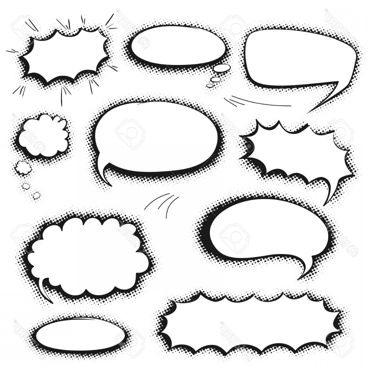 Vector Art Black And White Bubbles: Photostock Vector Set Of Empty Graphic Black And White Comics Speech Bubbles Vector Templates For Your Text With Shado