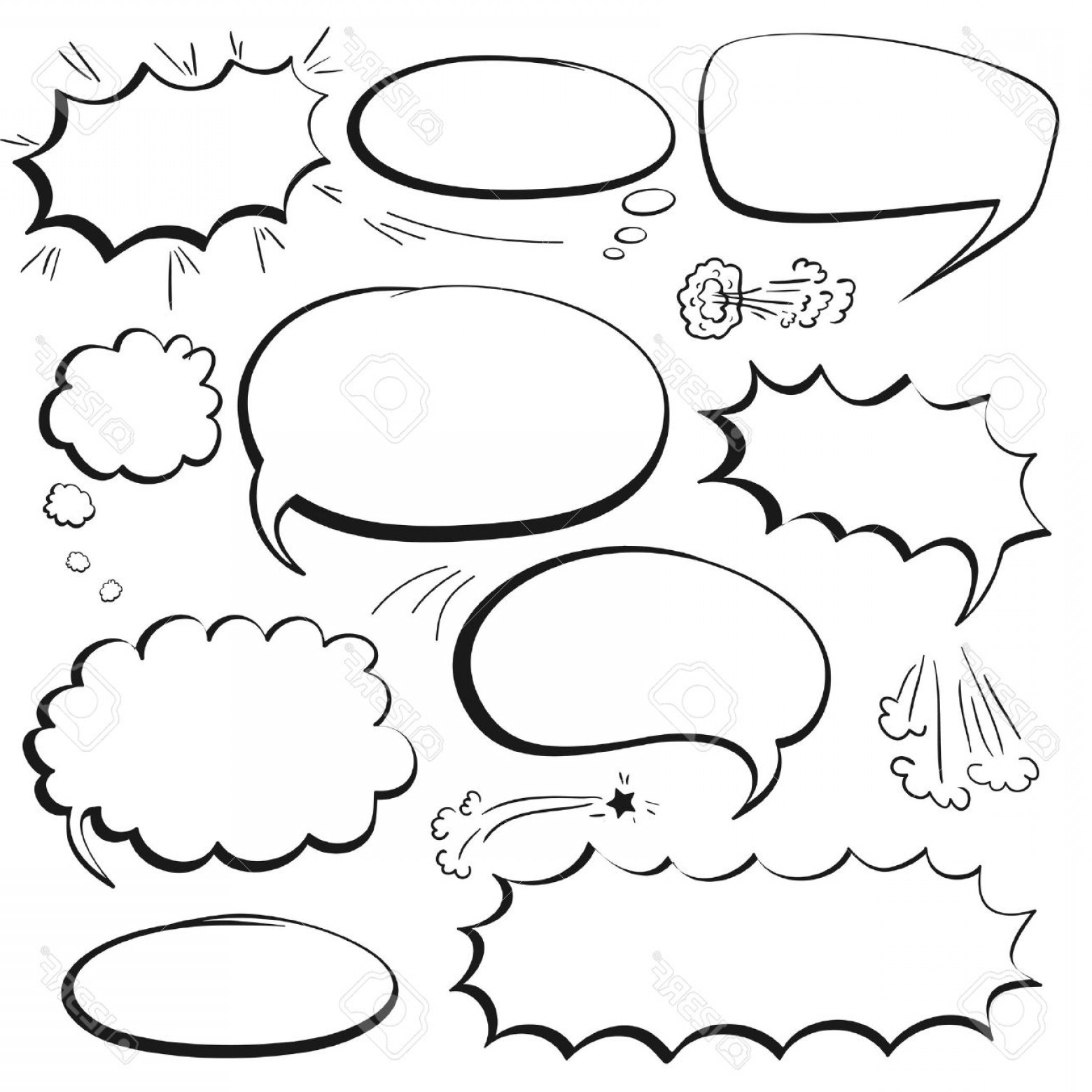 Vector Art Black And White Bubbles: Photostock Vector Set Of Empty Graphic Black And White Comics Speech Bubbles Vector Templates For Your Text
