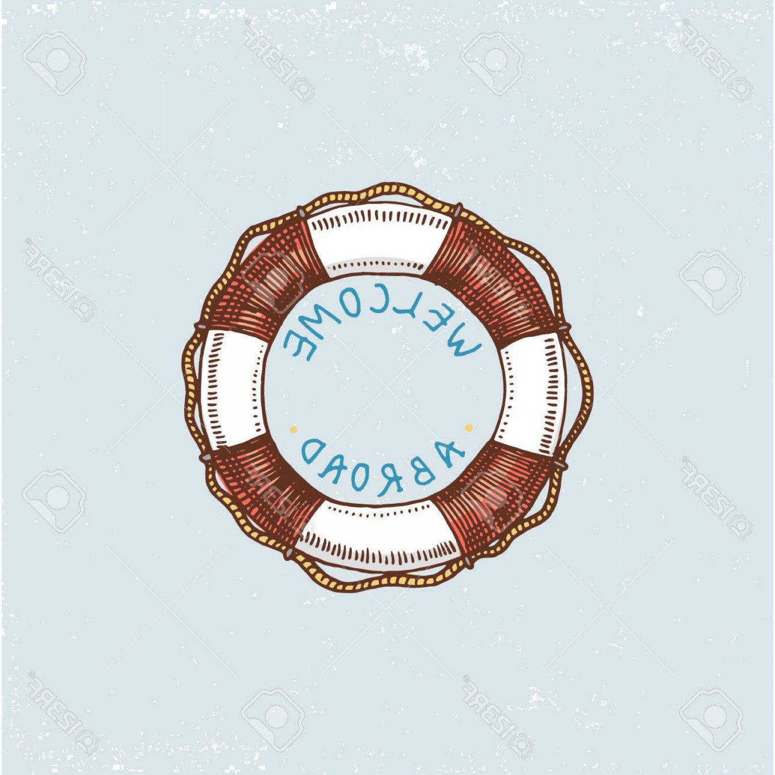 Old Lifesaver Stripe Vectors: Photostock Vector Set Of Engraved Vintage Hand Drawn Old Labels Or Badges For A Life Ring