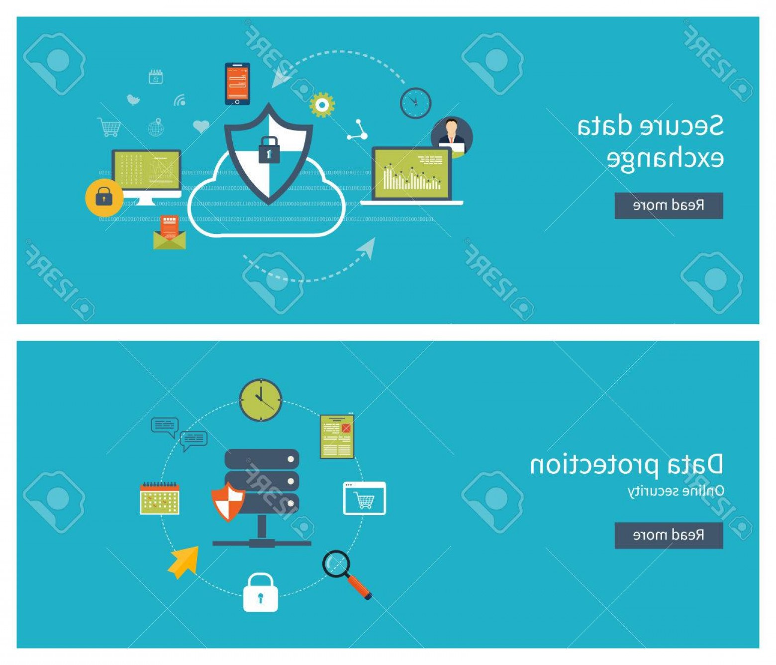Vector Data Exchange: Photostock Vector Set Of Flat Design Vector Illustration Concepts For Data Protection Data Encryption And Secure Data