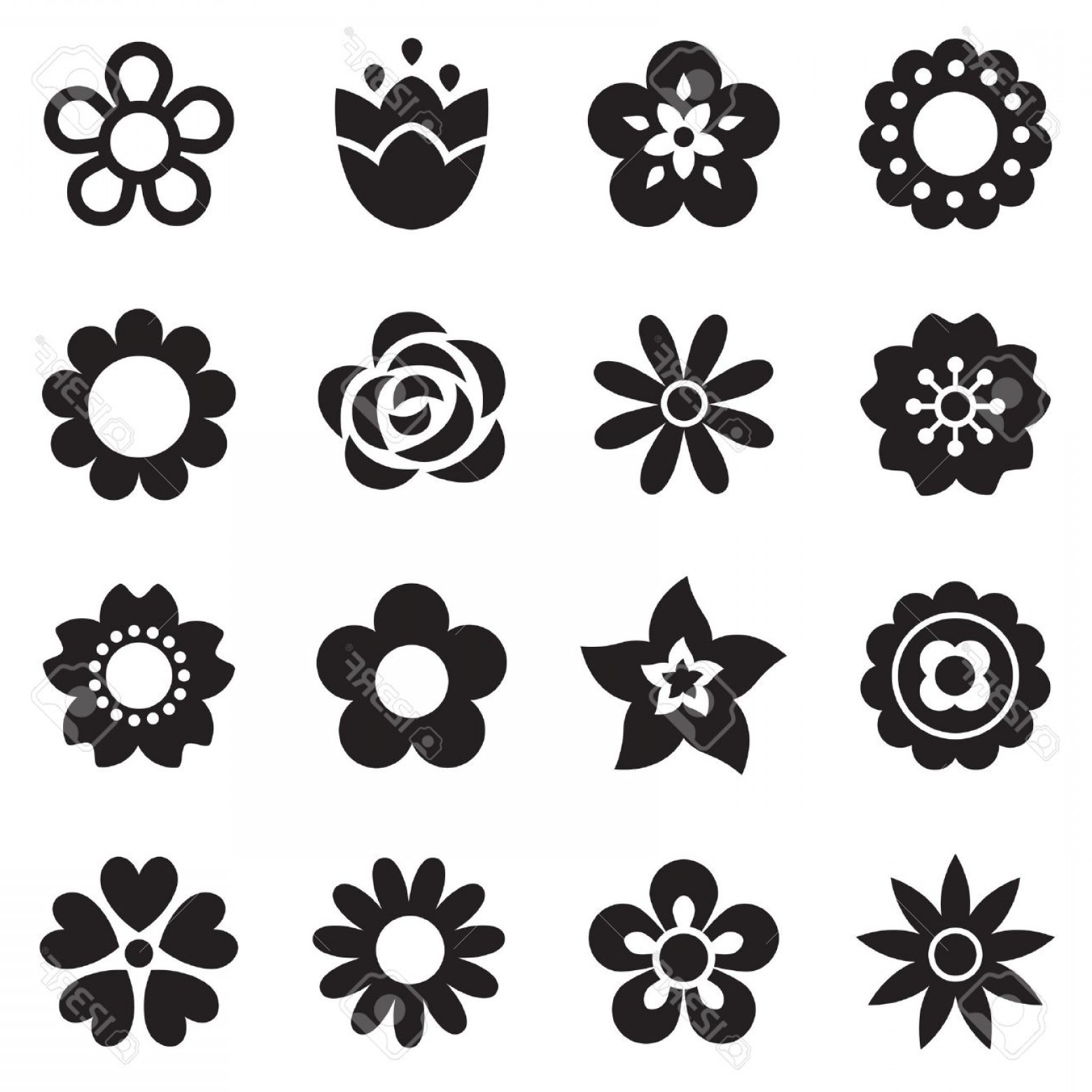 Icon Of Flower Vectors: Photostock Vector Set Of Flat Flower Icons In Silhouette Isolated On White Simple Retro Designs In Black And White Sea