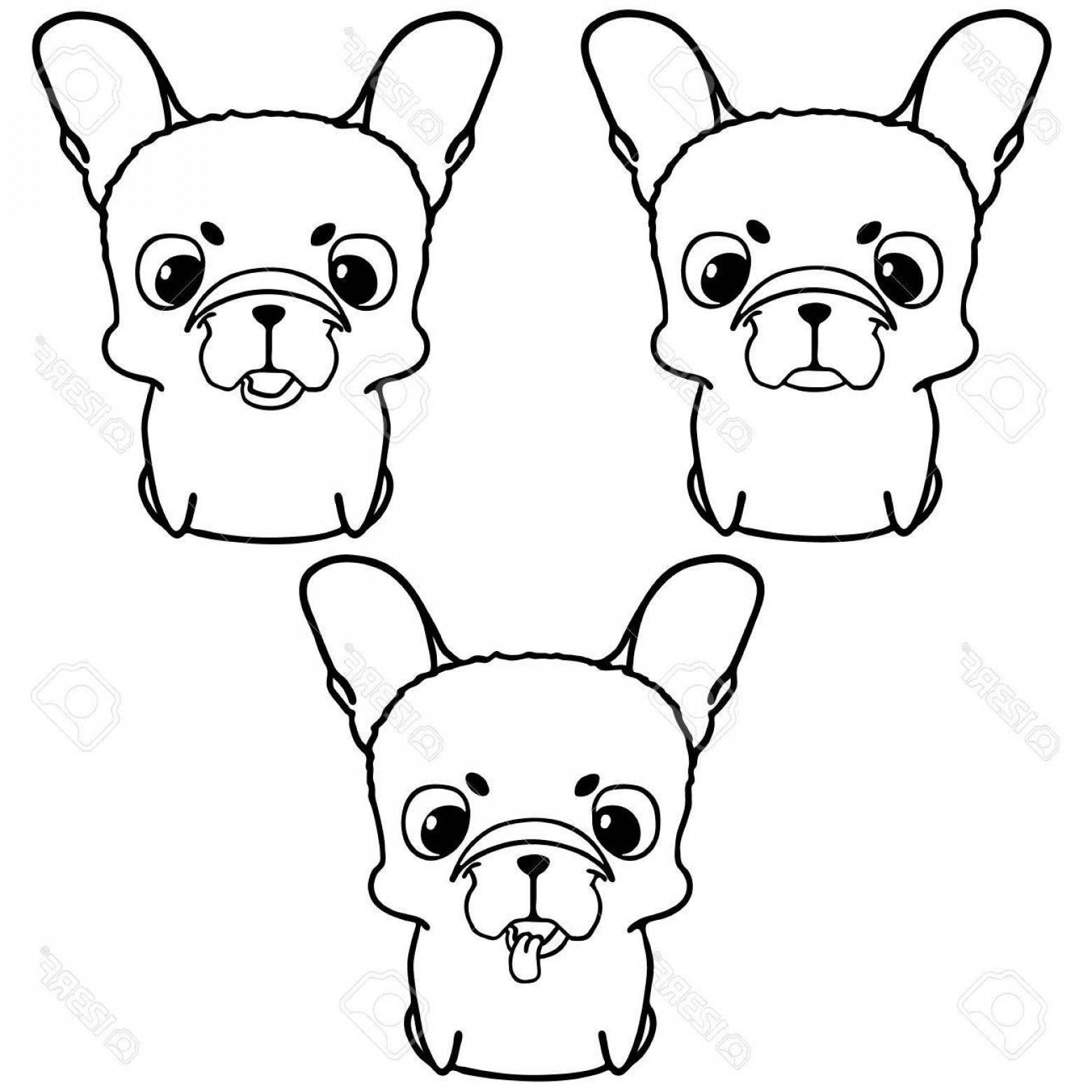 Vector Smiling Bulldog: Photostock Vector Set Of French Bulldog Puppies Black And White Illustration Of Cute Little Dog With Big Head Smiling