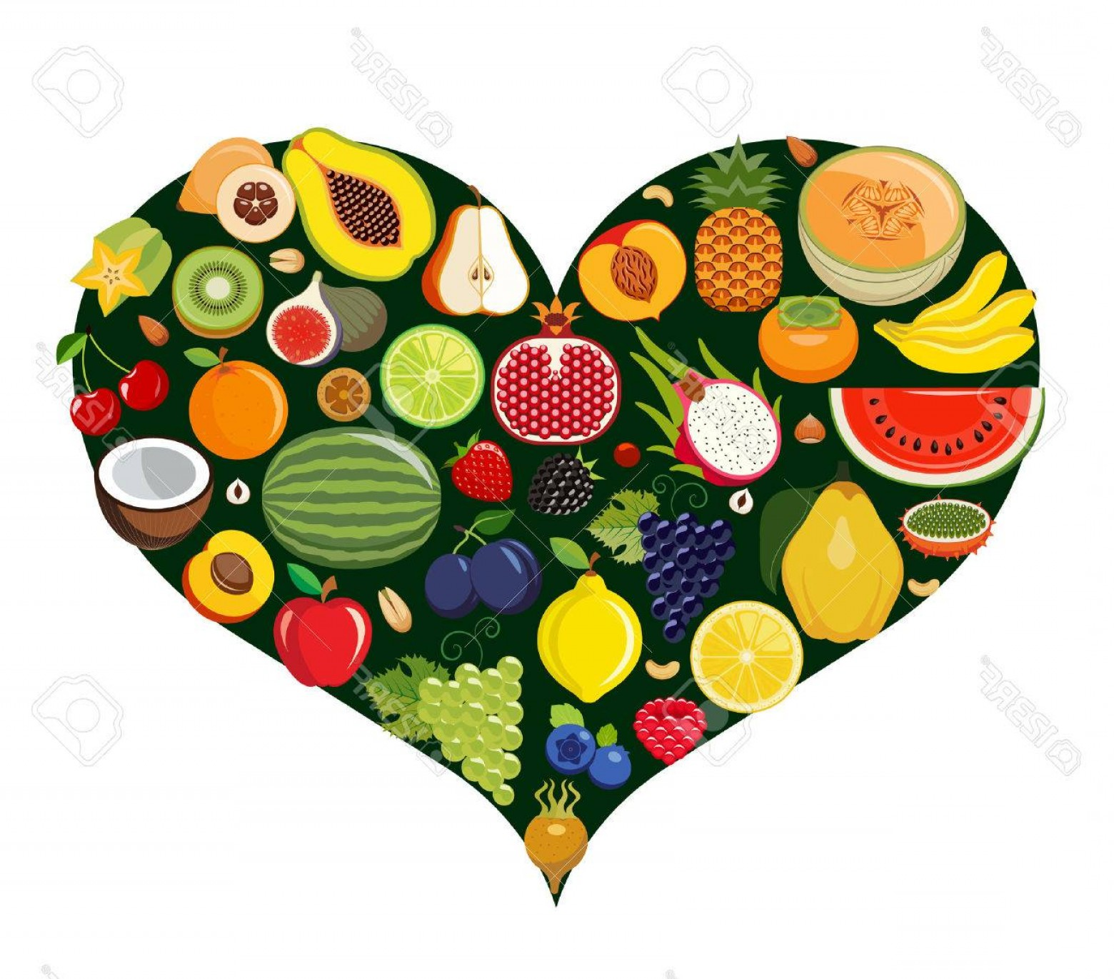 Vegan Heart Vectors: Photostock Vector Set Of Fruit Icons Forming Heart Shape Vegetarian Food Icons Healthy Low Fat Food Preventing Cardiac