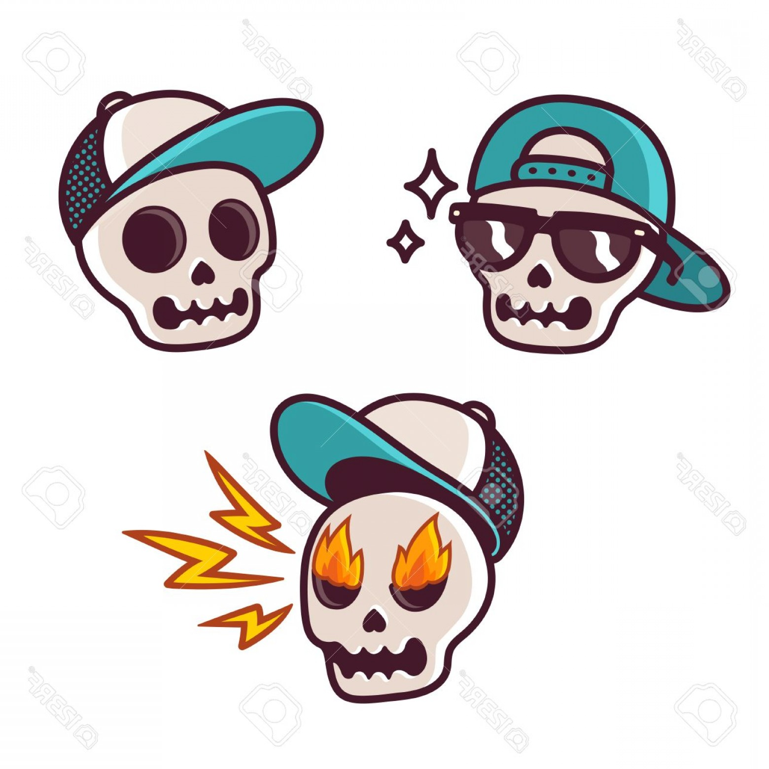 Cool Skull Vector: Photostock Vector Set Of Funny Cartoon Skull Character In Baseball Cap Cool Skull With Sunglasses Angry With Flame In