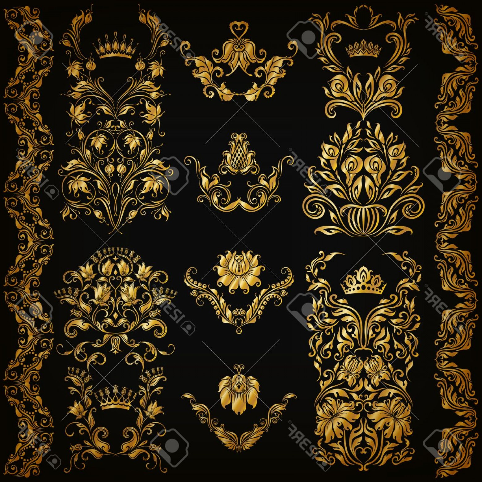 Gold Ornate Borders Vector: Photostock Vector Set Of Gold Damask Ornaments Floral Elements Ornate Borders Filigree Crowns Arabesque For Design Pag