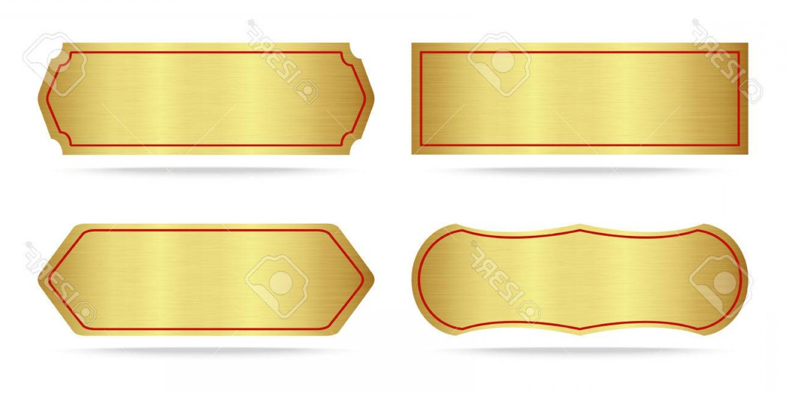 Nameplate Vector Graphics: Photostock Vector Set Of Gold Label Metal Or Metallic Gold Name Plate Vector Illustration