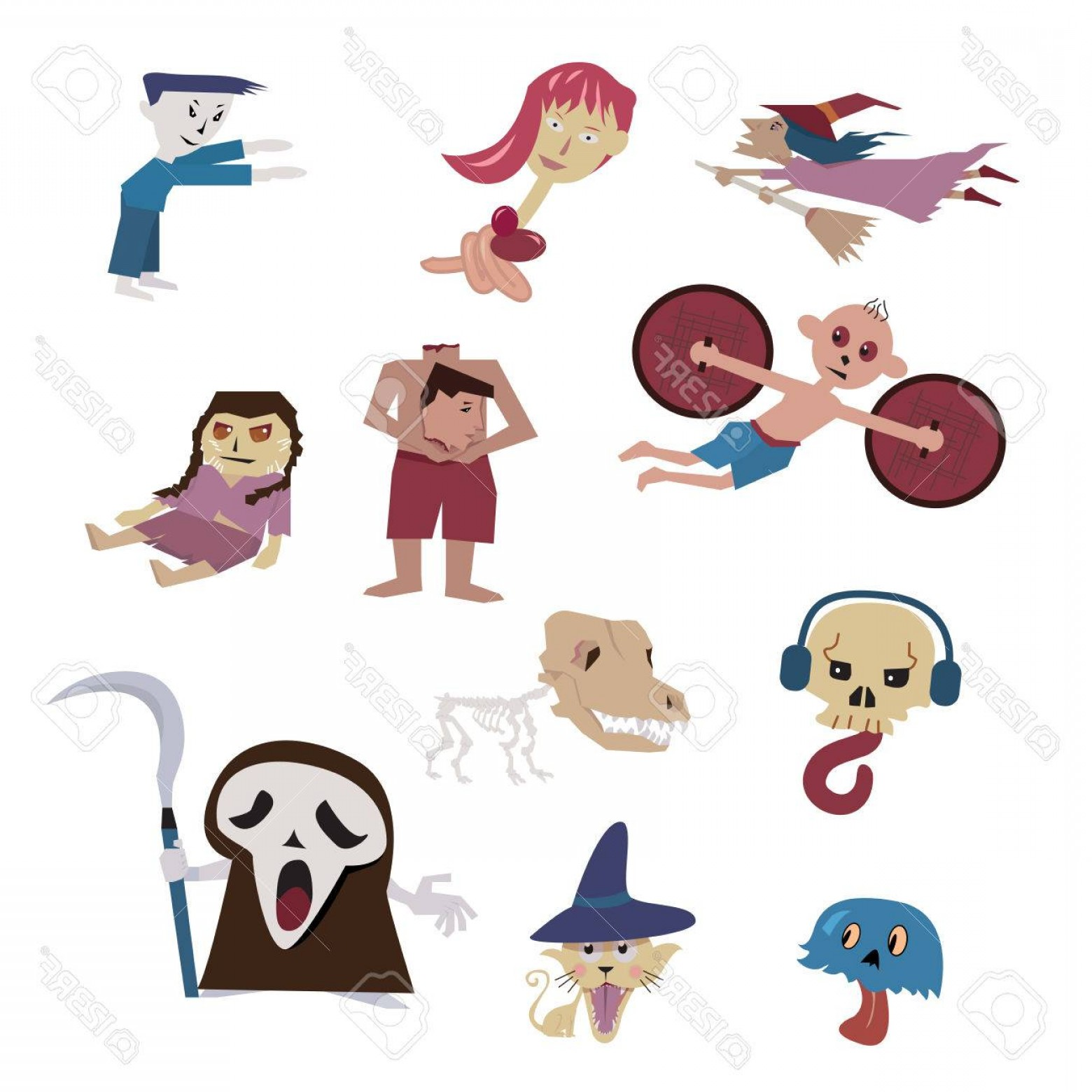 Headless Scary Halloween Skeletons Vectors: Photostock Vector Set Of Halloween Characters Vector Dog Skeleton Death Witch Headless Ghost From Many Culture