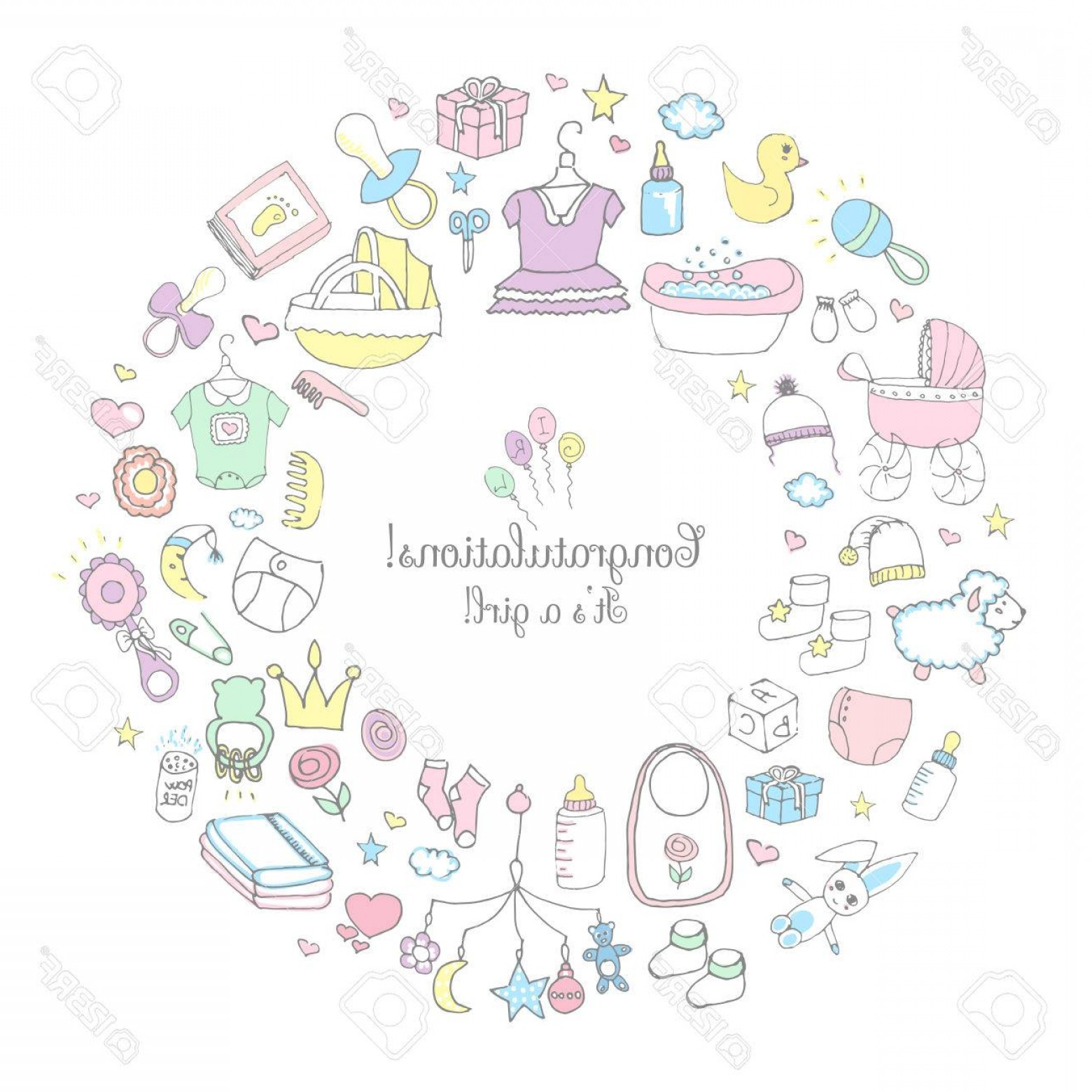 Cute Design Elements Vector Set: Photostock Vector Set Of Hand Drawn Cute Baby Shower Icons Kids Care Elements Vector Illustration It S A Baby Girl Des