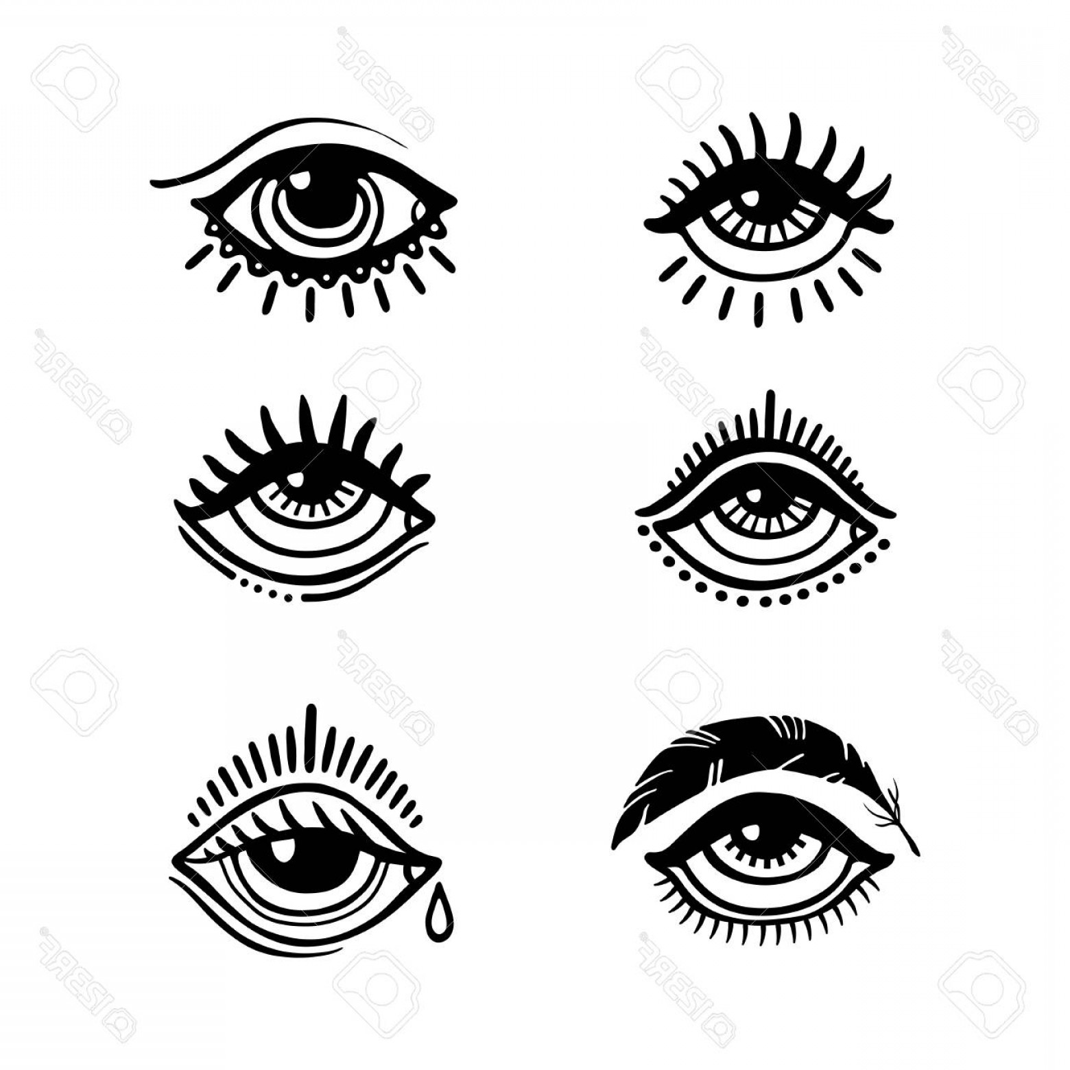 Eye Tatoo Vector: Photostock Vector Set Of Hand Drawn Eyes Doodle Style Tattoo Design Element The Third Eye Vector Illustration