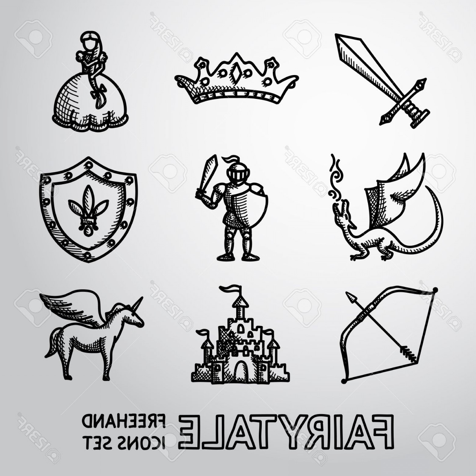 Hand Drawn Vector Fairy Tale: Photostock Vector Set Of Hand Drawn Fairytale Game Icons With Sword And Bow Shield And Knight Dragon Princess Crown Un