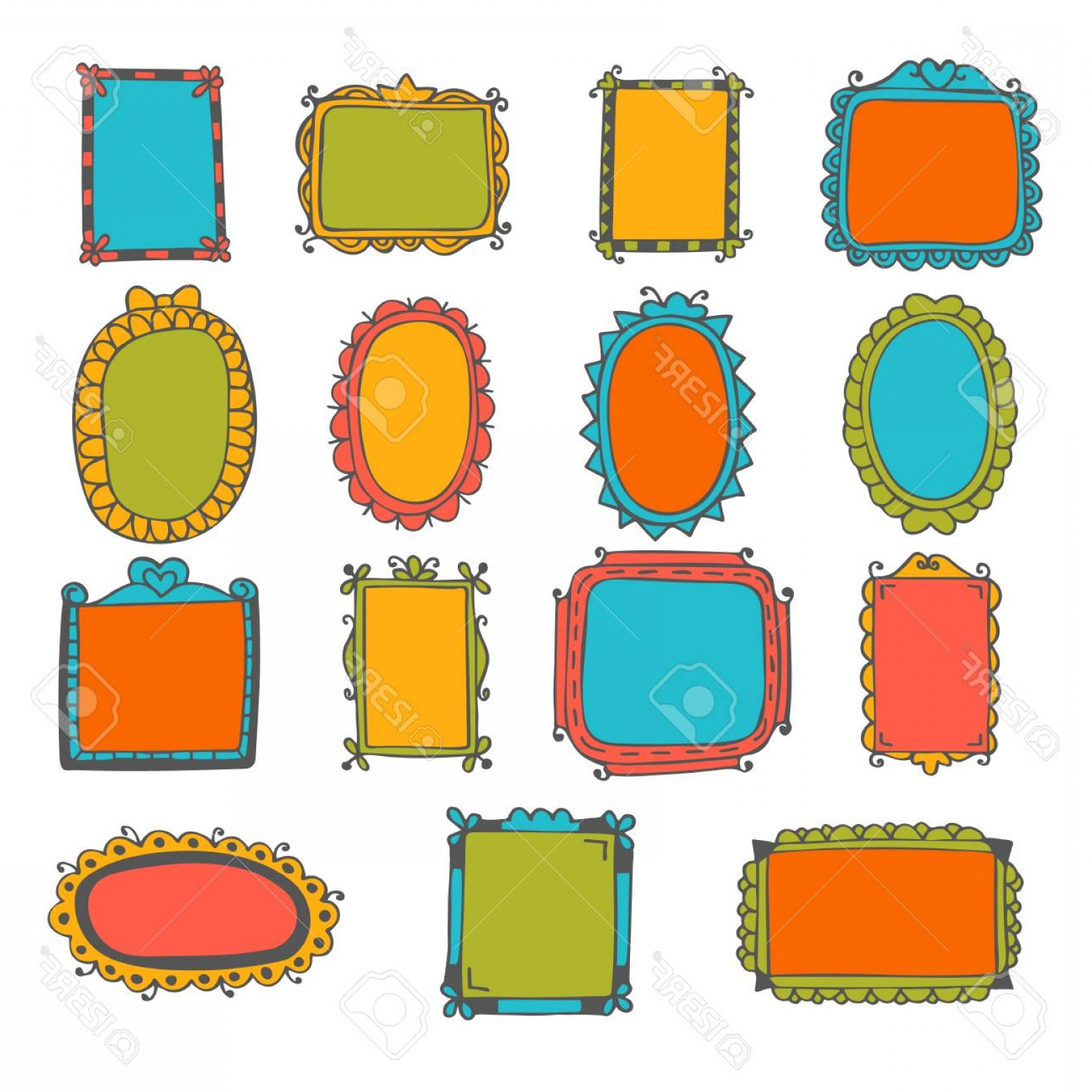 Cute Design Elements Vector Set: Photostock Vector Set Of Hand Drawn Frames Cute Design Elements Sketchy Frames And Borders Vector Illustration
