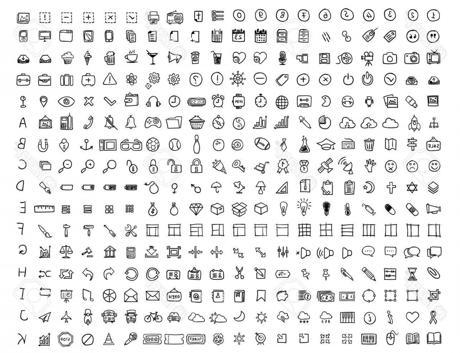 320 Vector: Photostock Vector Set Of Hand Drawn Icons Many Icons Painted Marker