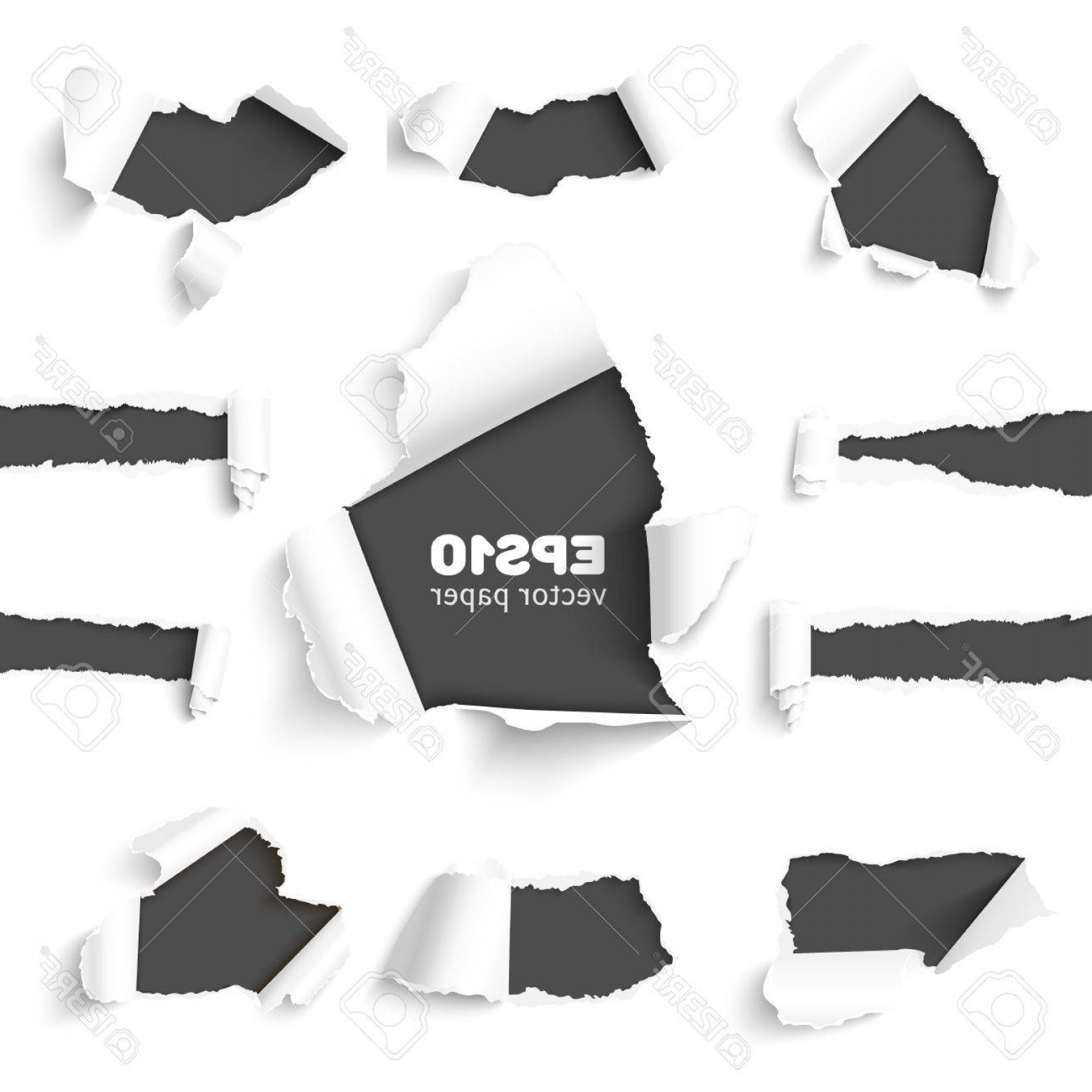 Ripped Black And White Vector: Photostock Vector Set Of Holes In White Paper With Torn Sides Over Dark Paper Background With Space For Text Realistic