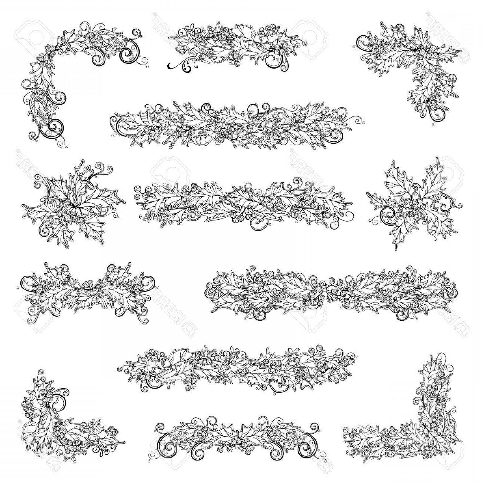 Christmas Divider Vector: Photostock Vector Set Of Holly Berries Page Decorations And Dividers Vector Outlined Christmas Design Elements Isolate