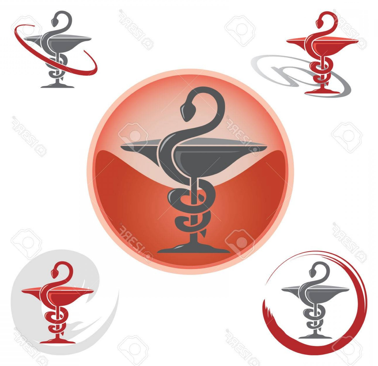 With Red Caduceus Vector: Photostock Vector Set Of Icons With Caduceus Symbol Red Health Pharmacy