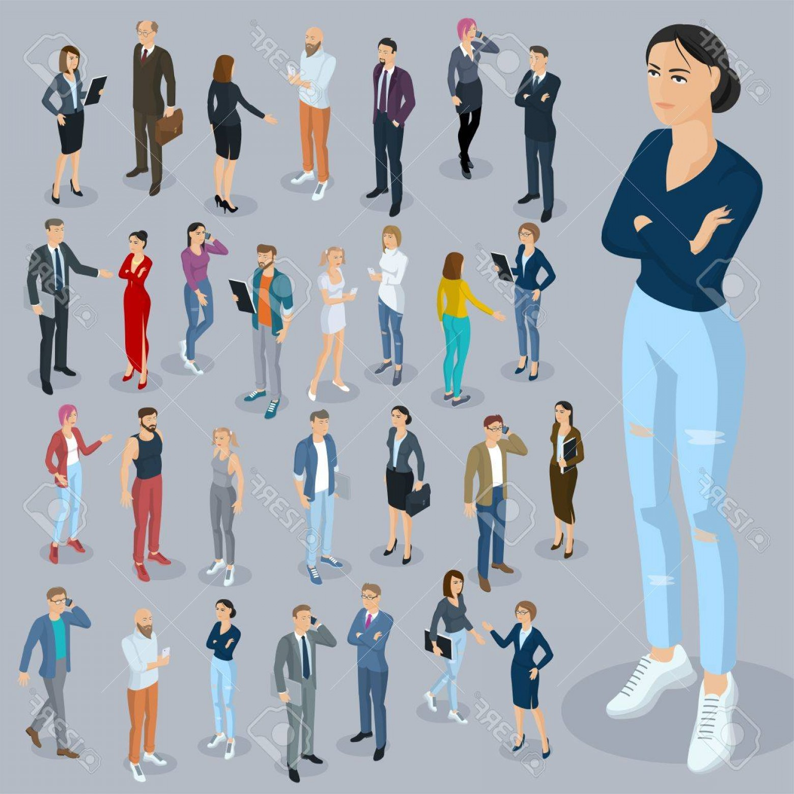 Vector People Man: Photostock Vector Set Of Isometric D Flat Design Vector People Different Characters Styles And Professions Isometric