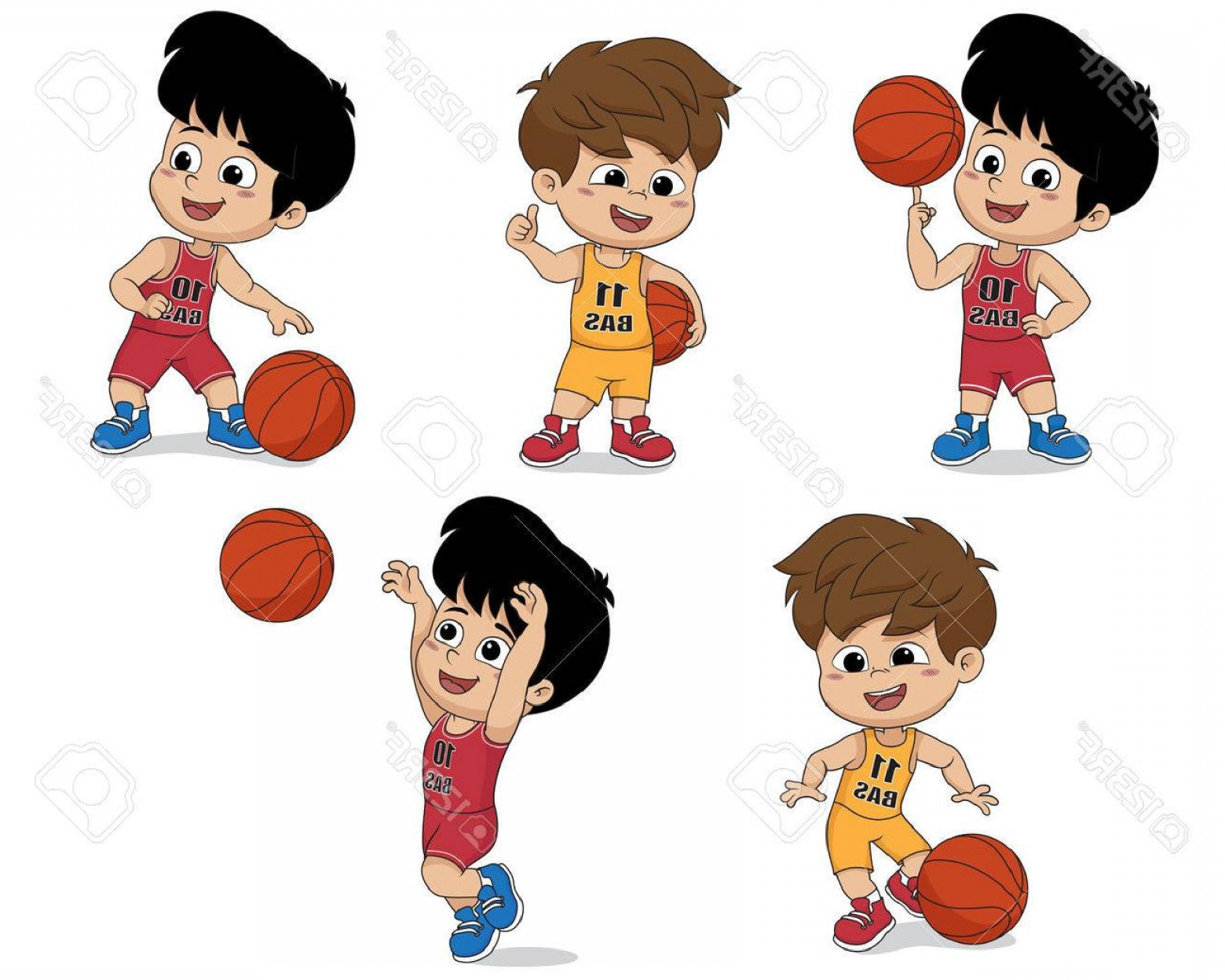 Cartoon Basketball Vector: Photostock Vector Set Of Kid Playing Basketball Vector And Illustration