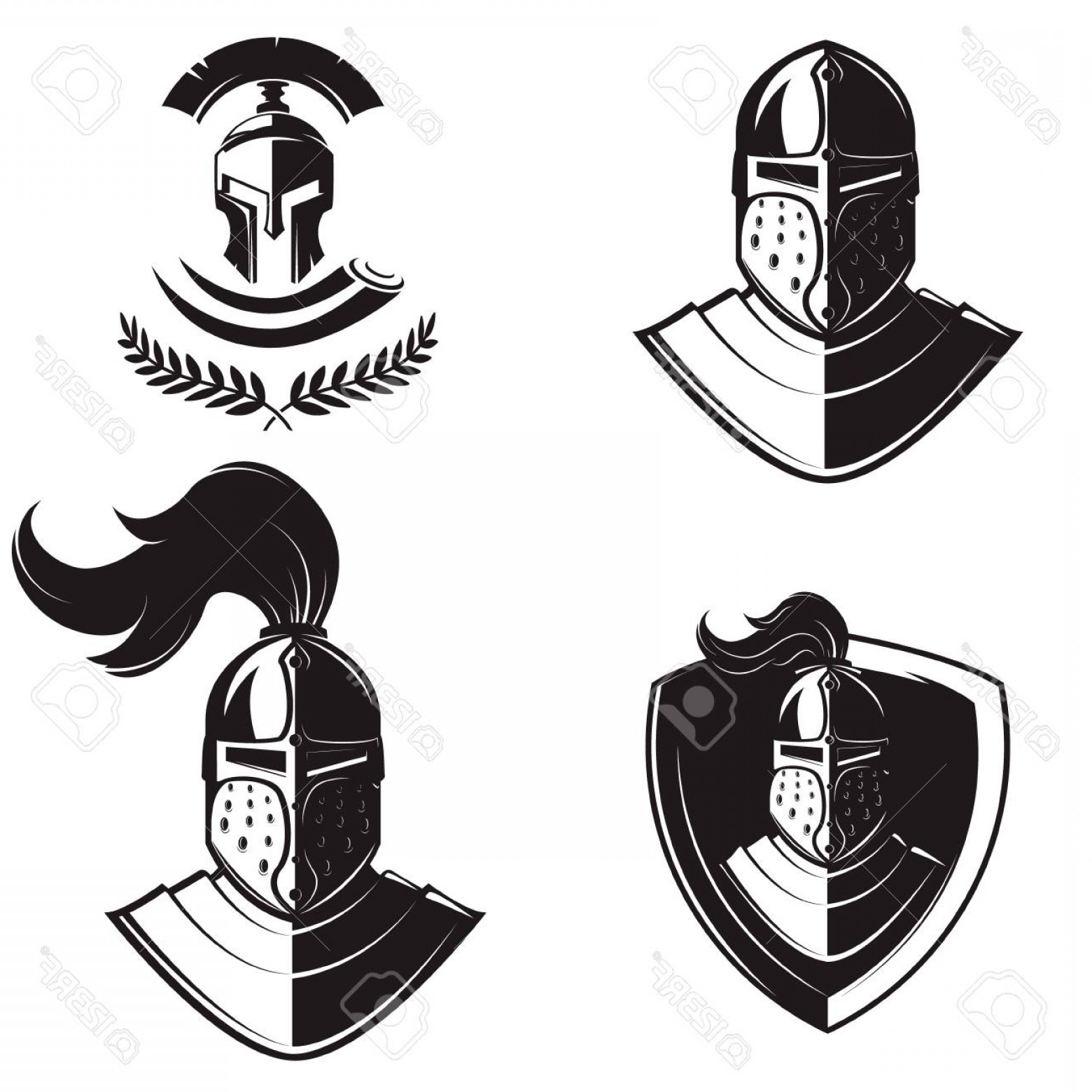 Boba Fett Vector Black And White: Photostock Vector Set Of Knights Helmets Isolated On White Background