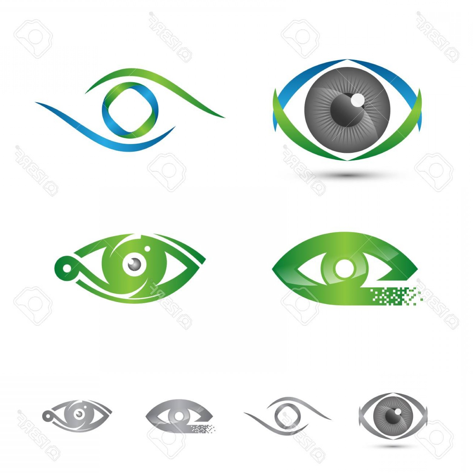Eye Vector Logo: Photostock Vector Set Of Logos And Icons Of Eye Vector Logo Concept Colorful Graphic Vector Illustration Eps Eps