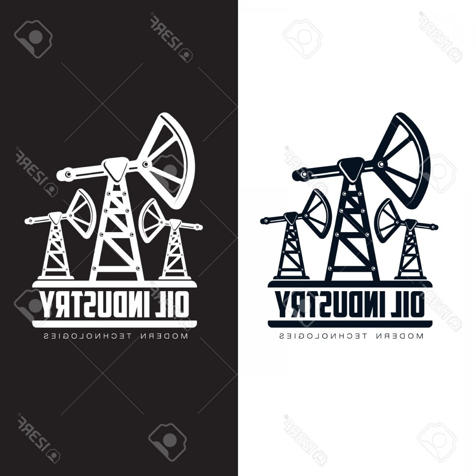Construction Logos Vector Black And White: Photostock Vector Set Of Logos With Oil Vectors Flat Illustration Isolated On White Background The Oil Company The Ind