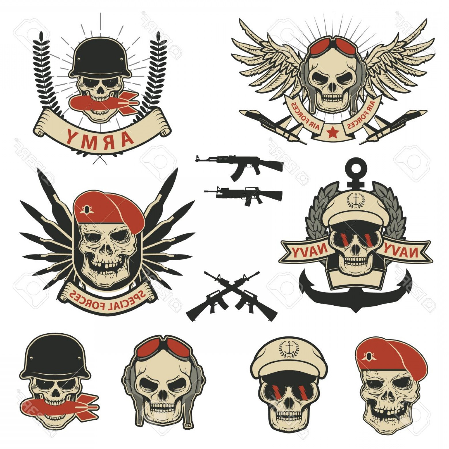 Us Special Forces Vector Files: Photostock Vector Set Of Military Labels Badges And Design Elements Special Forces Skull With Grenade Vector Illustrat