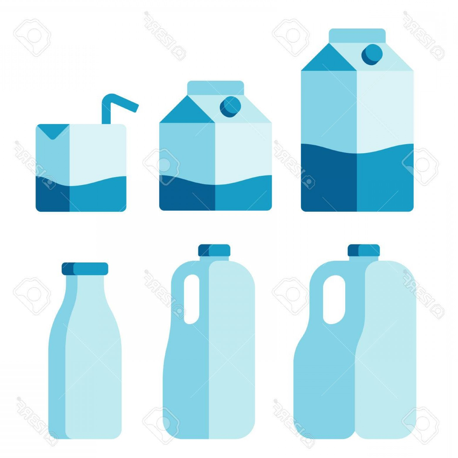 Gallon Milk Jug Vector: Photostock Vector Set Of Milk Container Icons Cartons Plastic Jugs And Glass Bottle Isolated Flat Vector Illustration