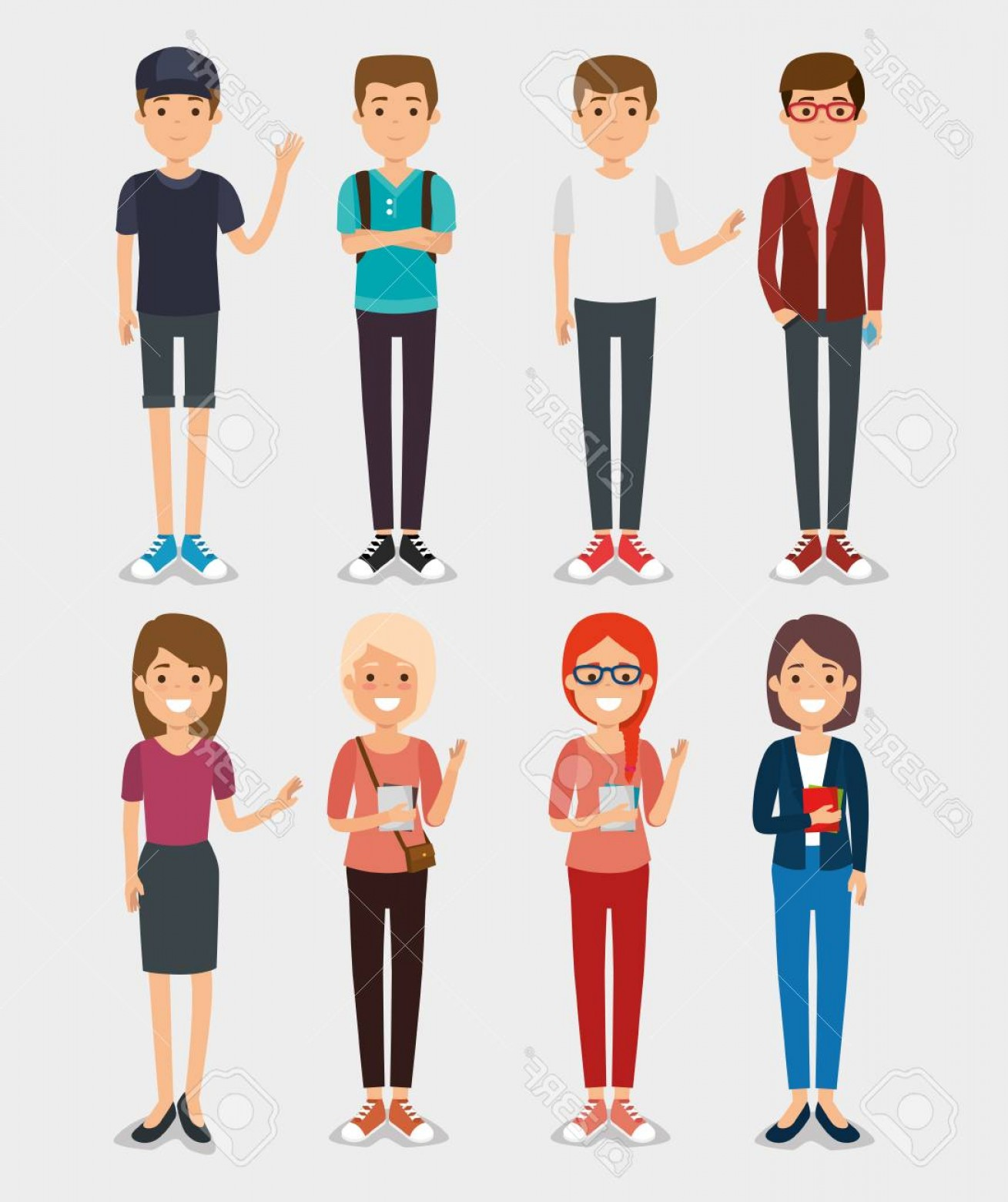 Millennial Vector: Photostock Vector Set Of Millennial Young People Vector Illustration Graphic Design