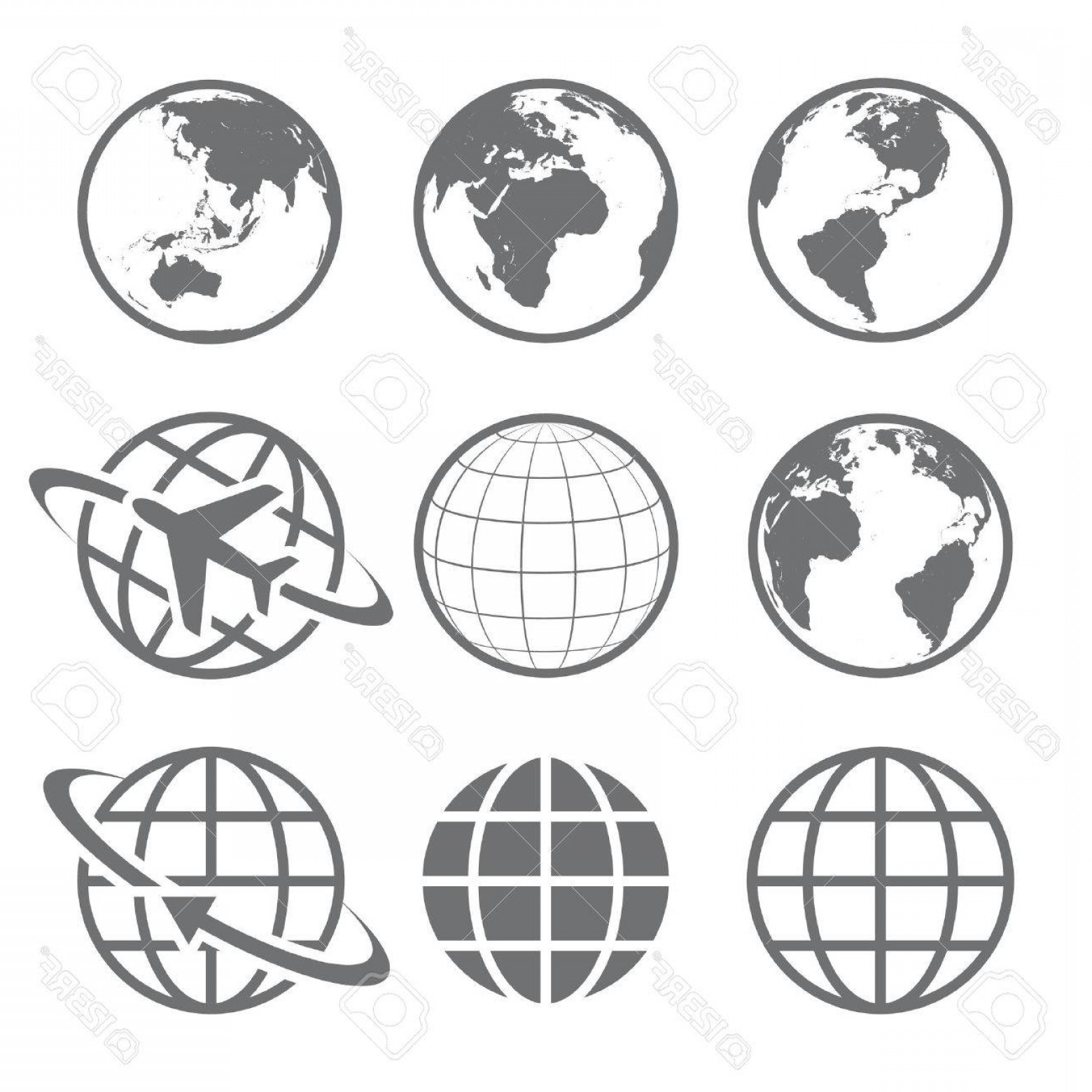 World Icon Vector Simple: Photostock Vector Set Of Nine Simple Earth Globe Icons Vector File Is Layered