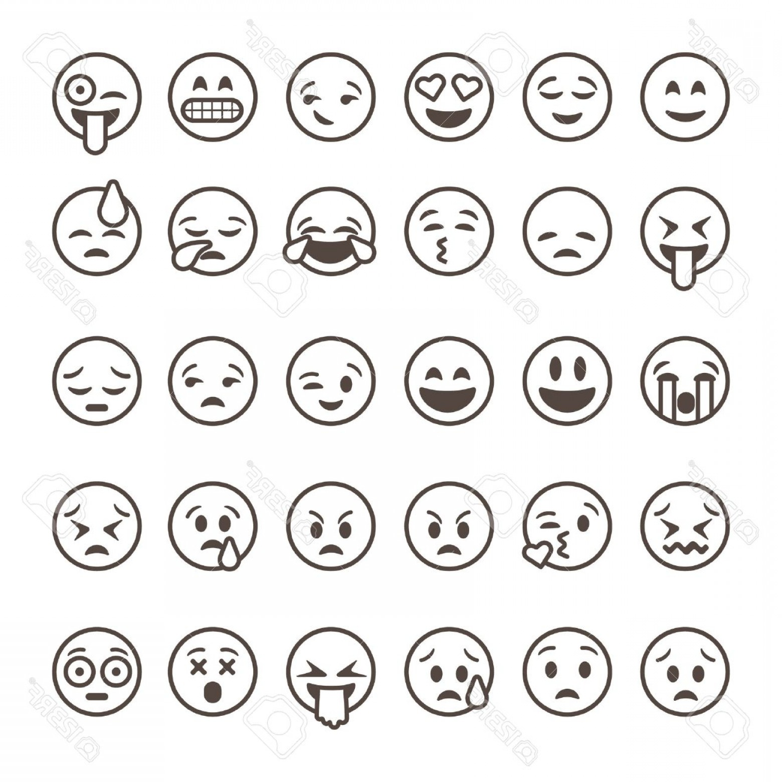 Popular Vector Emoji: Photostock Vector Set Of Outline Emoticons Emoji Isolated On White Background Vector Illustration