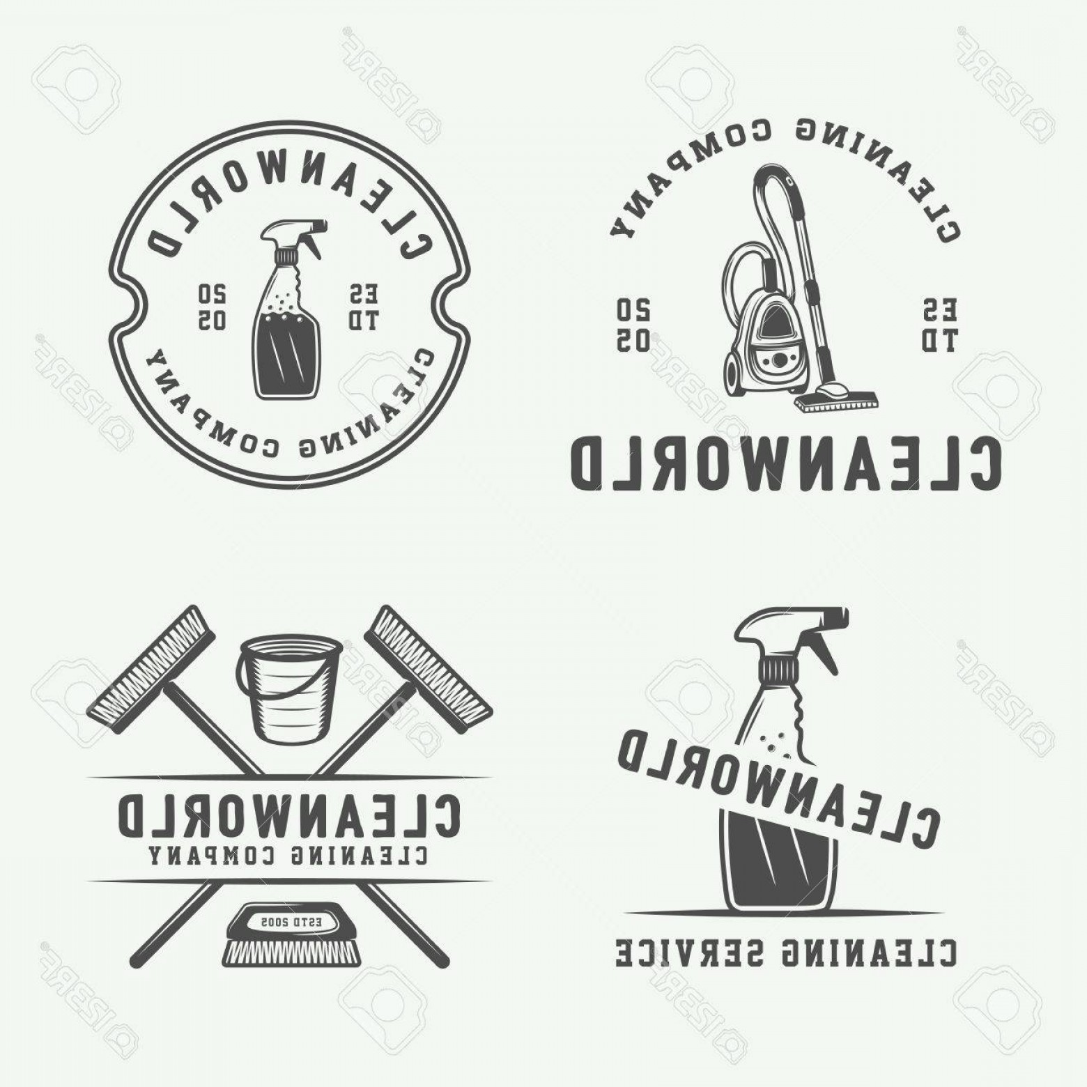 Cleaning Logo Vector Art: Photostock Vector Set Of Retro Cleaning Logo Badges Emblems And Labels In Vintage Style Monochrome Graphic Art Vector