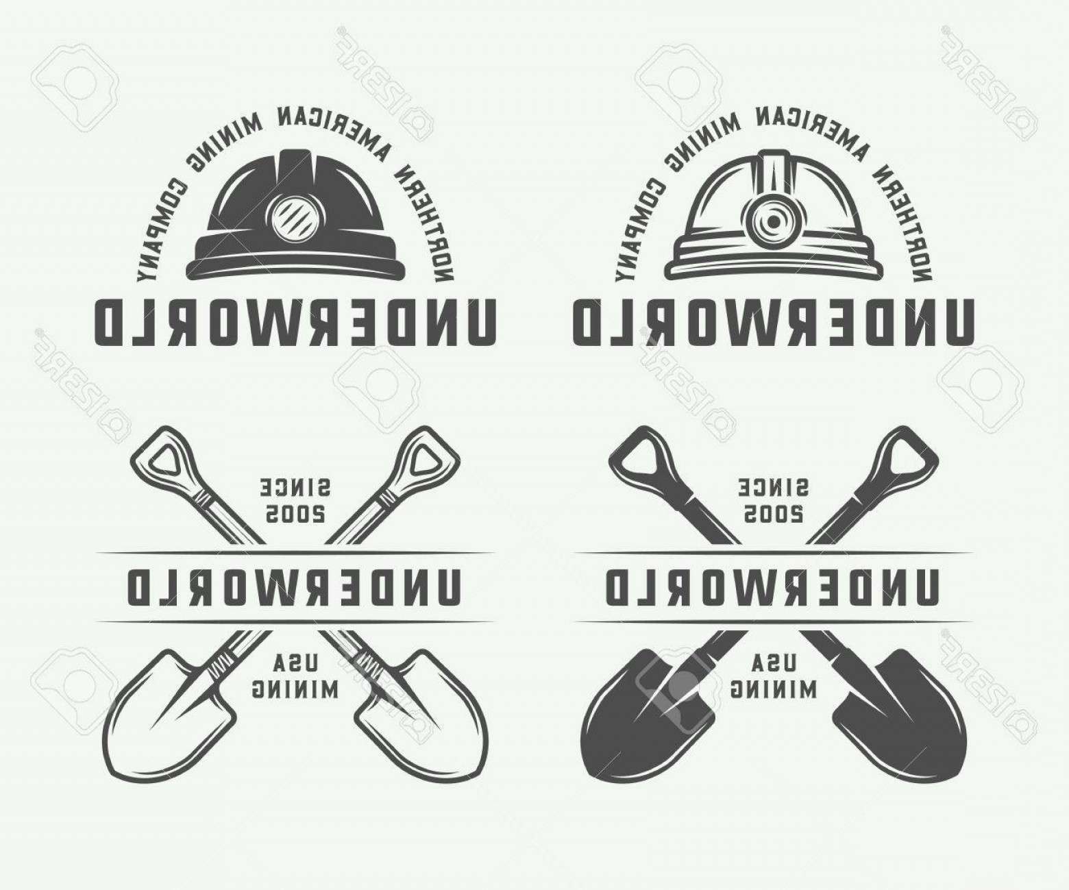 Construction Logos Vector Black And White: Photostock Vector Set Of Retro Mining Or Construction Logo Badges And Labels In Vintage Style Monochrome Graphic Art V