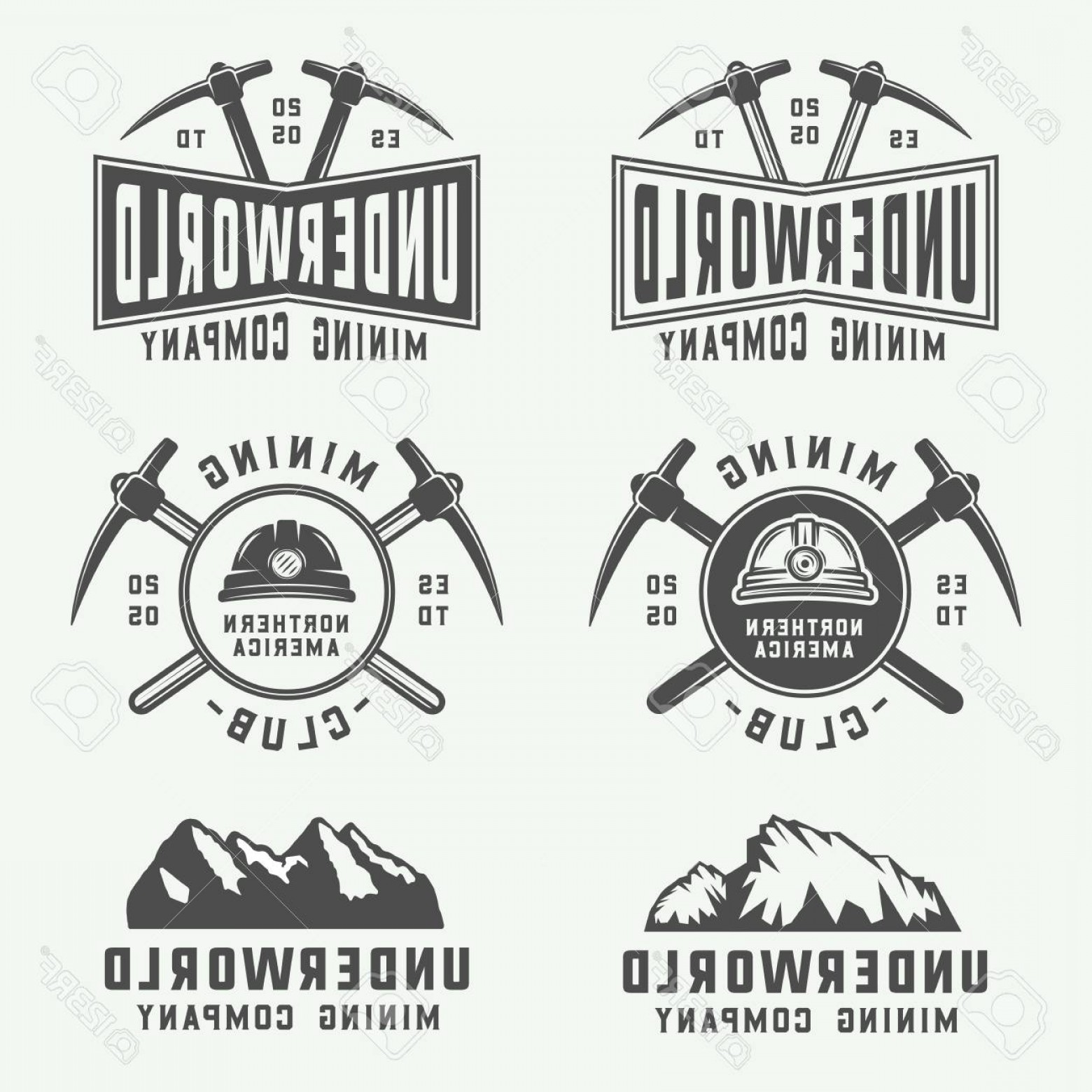 Construction Logos Vector Black And White: Photostock Vector Set Of Retro Mining Or Construction Logos Badges Emblems And Labels In Vintage Style Monochrome Grap